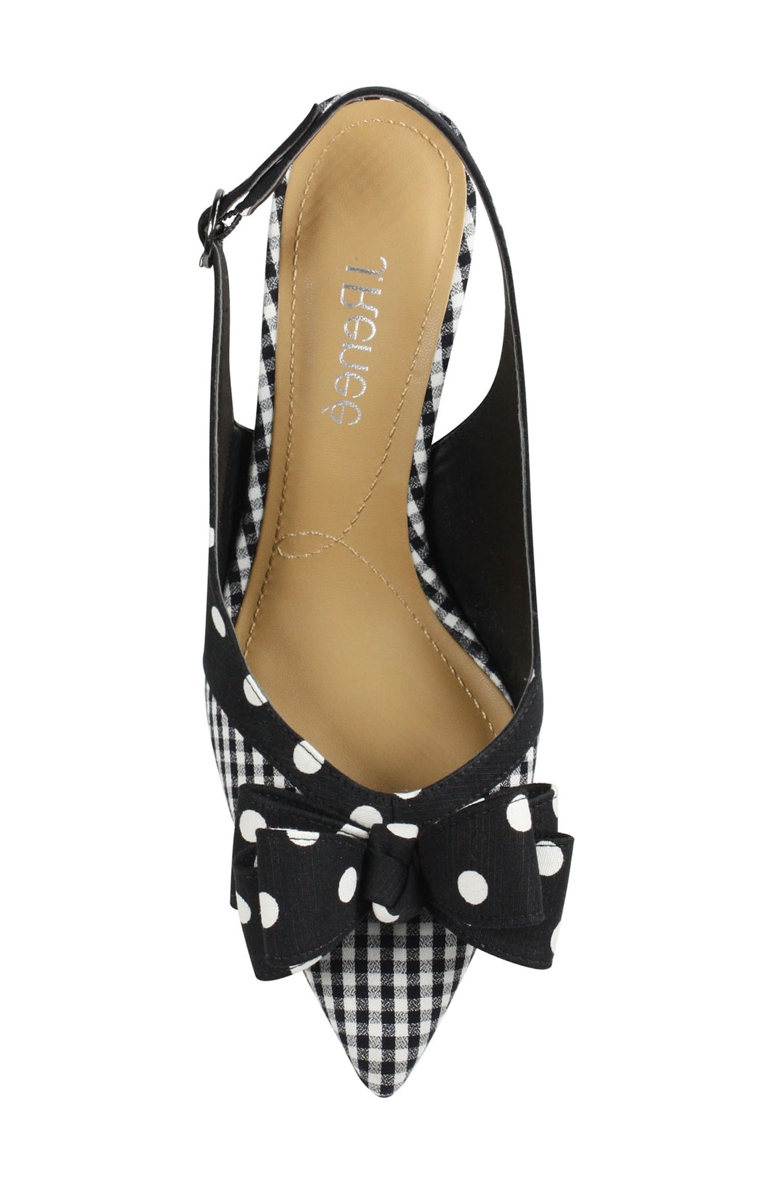 J. RENEÉ, Gabino Slingback Pump, Alternate thumbnail 5, color, BLACK/ WHITE PRINT FABRIC