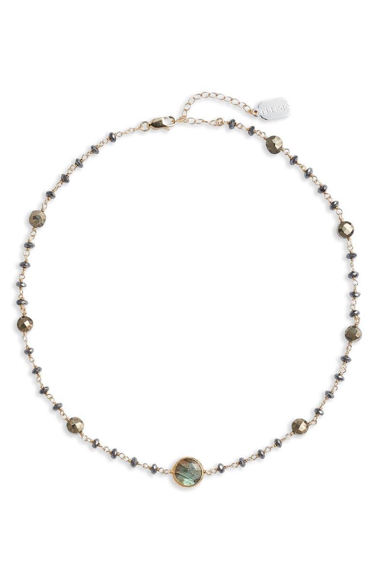 Ela Rae Diana Semiprecious Stone Coin Necklace In Grey