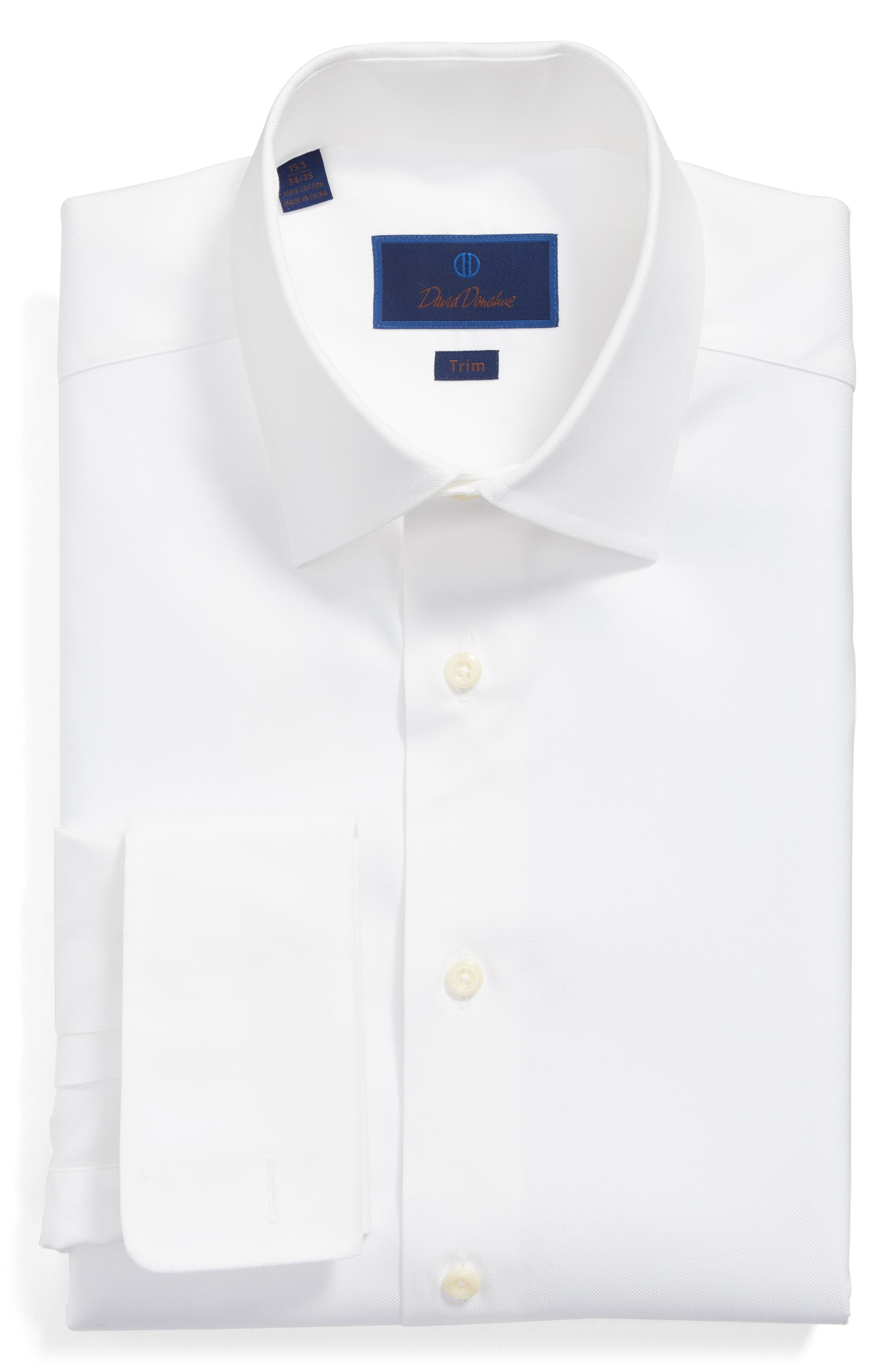DAVID DONAHUE, Trim Fit Solid French Cuff Dress Shirt, Main thumbnail 1, color, WHITE