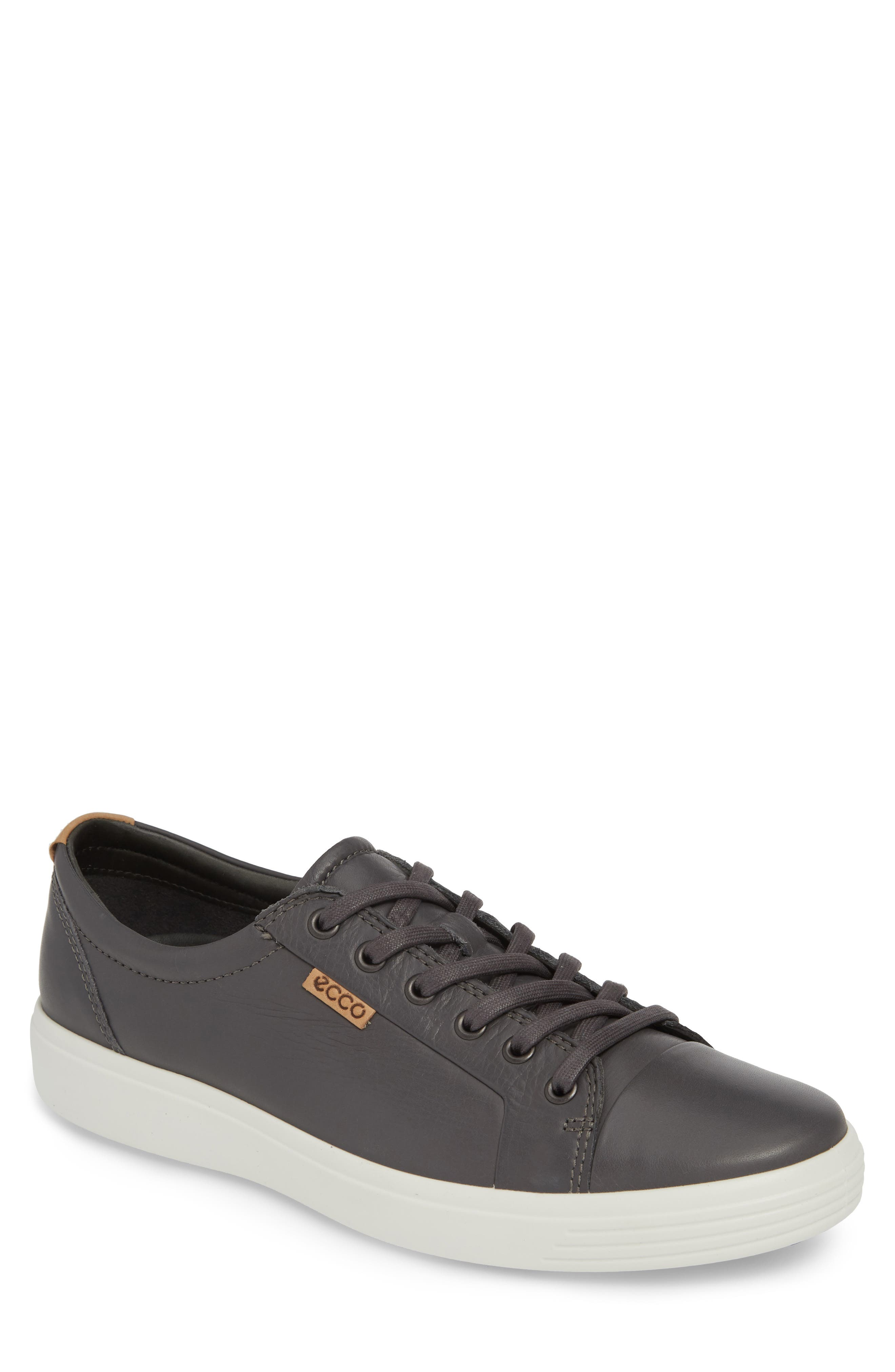ECCO, Soft VII Lace-Up Sneaker, Main thumbnail 1, color, GREY DRAGO