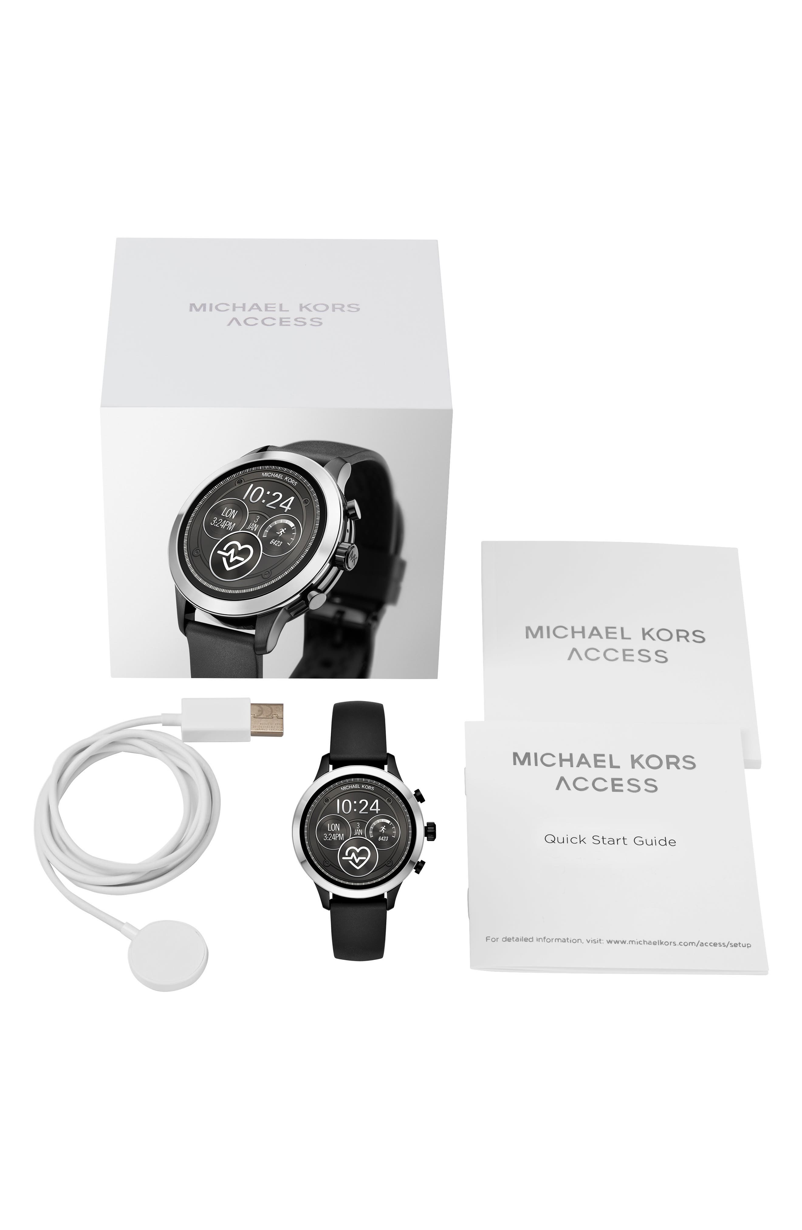 MICHAEL KORS, MICHAEL Michael Kors Access Runway Smart Watch, 41mm, Alternate thumbnail 4, color, 001