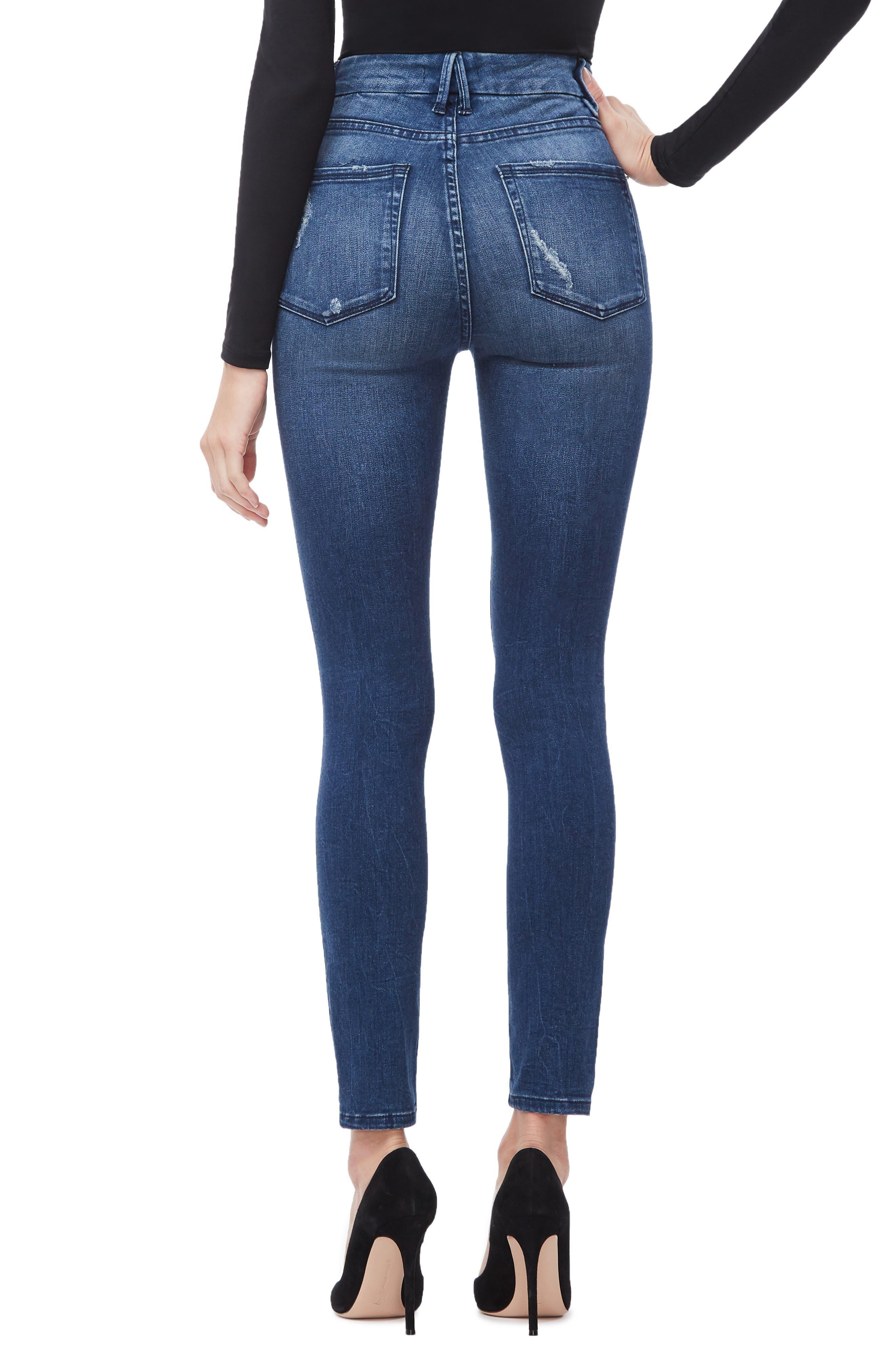 GOOD AMERICAN, Good Waist High Waist Skinny Jeans, Alternate thumbnail 4, color, BLUE249