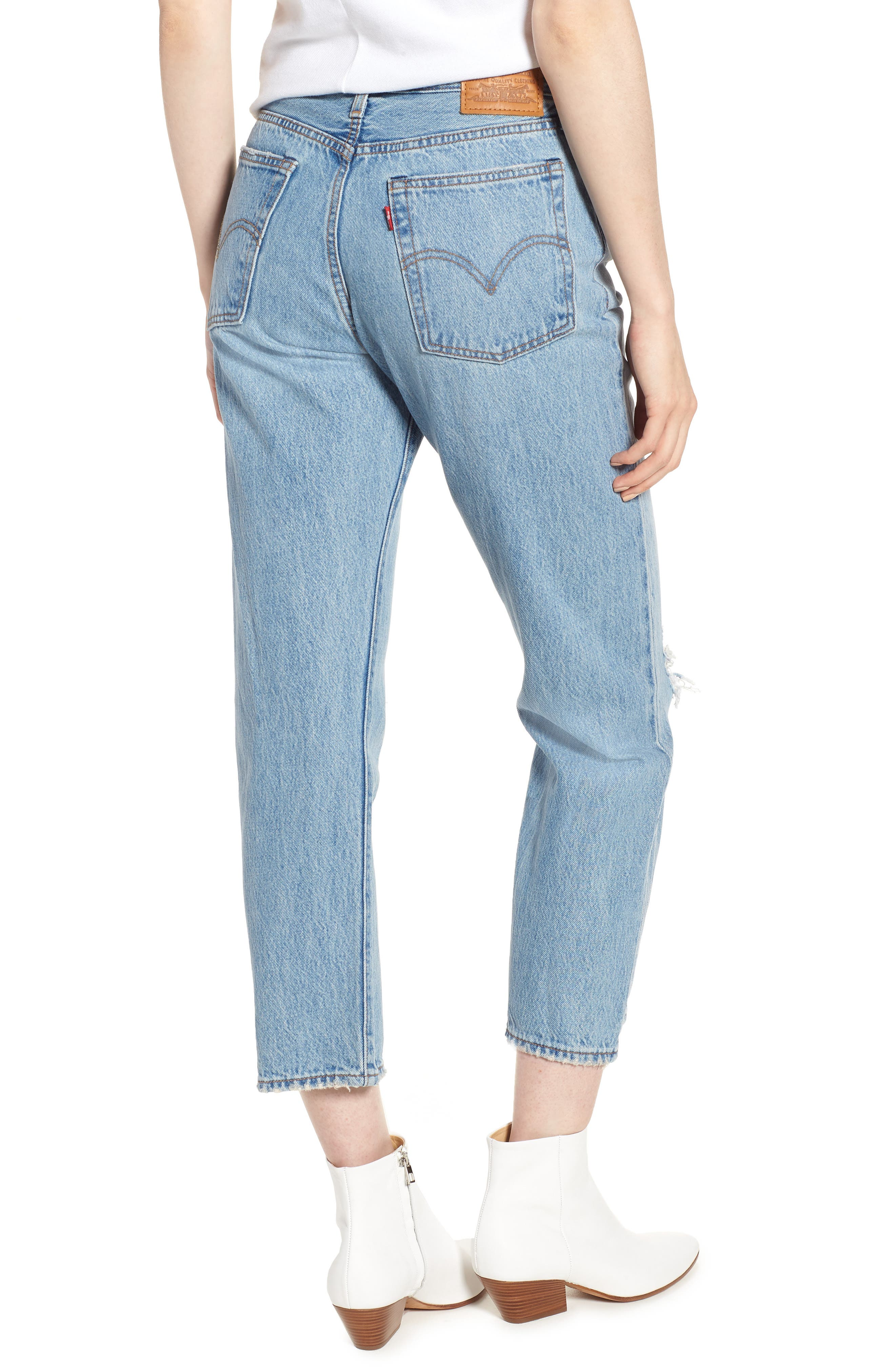 LEVI'S<SUP>®</SUP>, Wedgie Ripped Straight Leg Jeans, Alternate thumbnail 2, color, AUTHENTICALLY YOURS