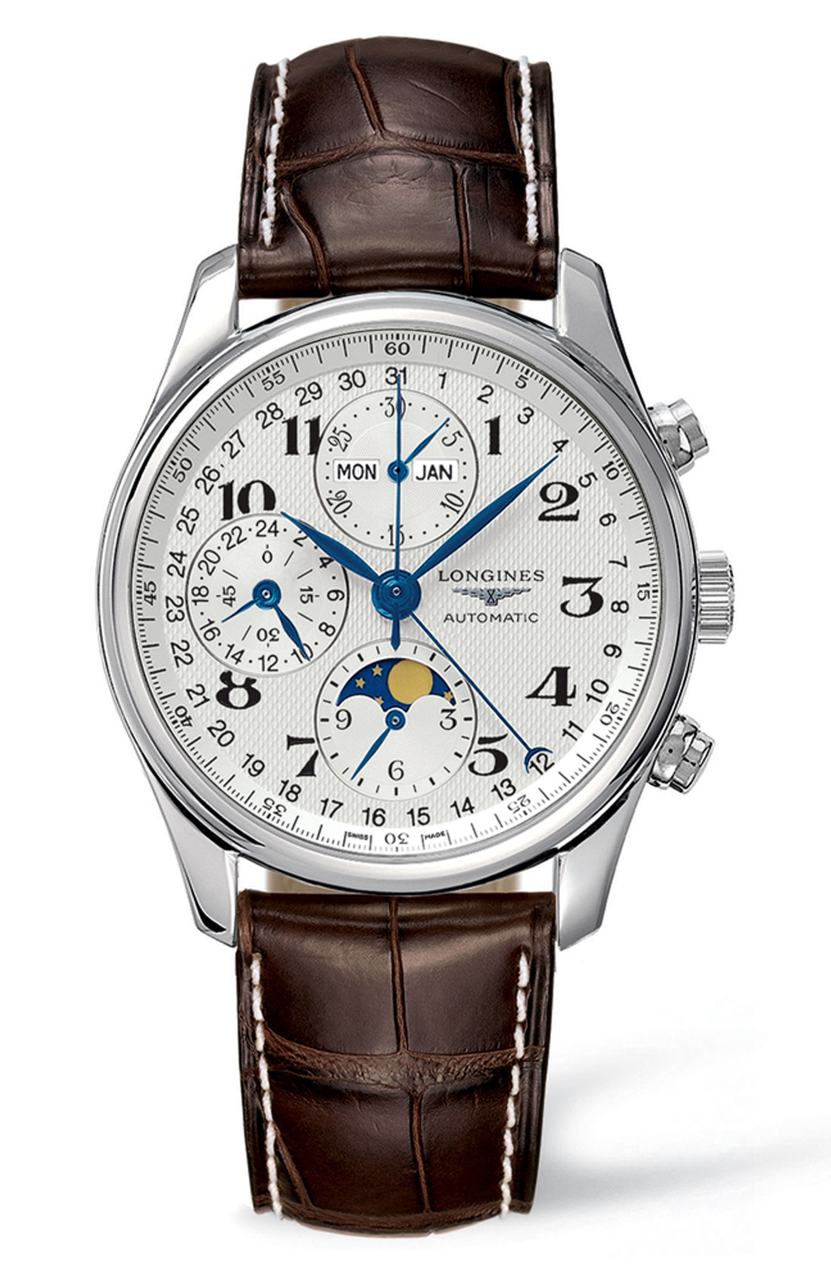 LONGINES, Master Automatic Chronograph Leather Strap Watch, 40mm, Main thumbnail 1, color, BROWN/ SILVER