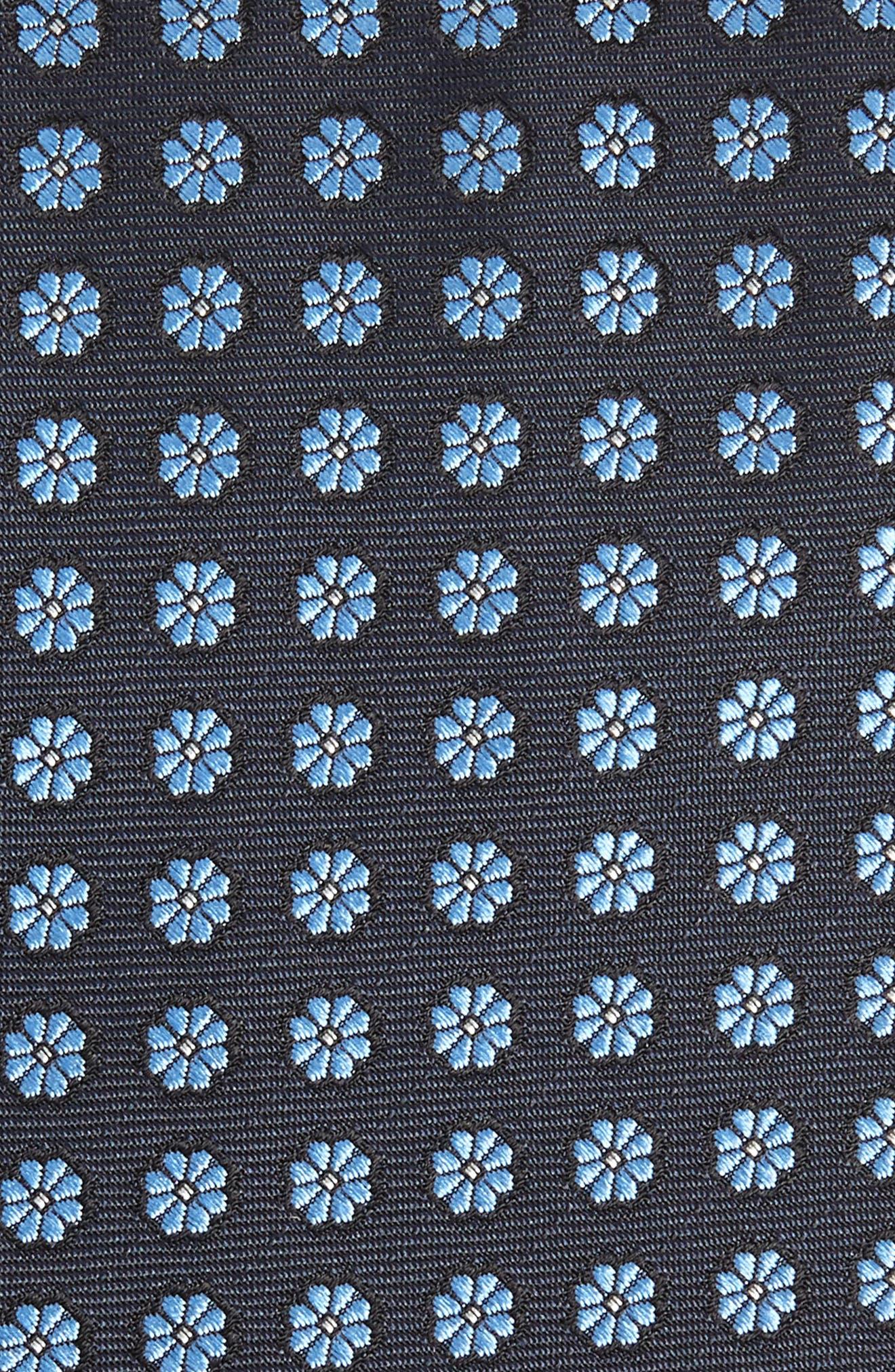 ERMENEGILDO ZEGNA, Floral Silk Tie, Alternate thumbnail 2, color, BLUE/ NAVY