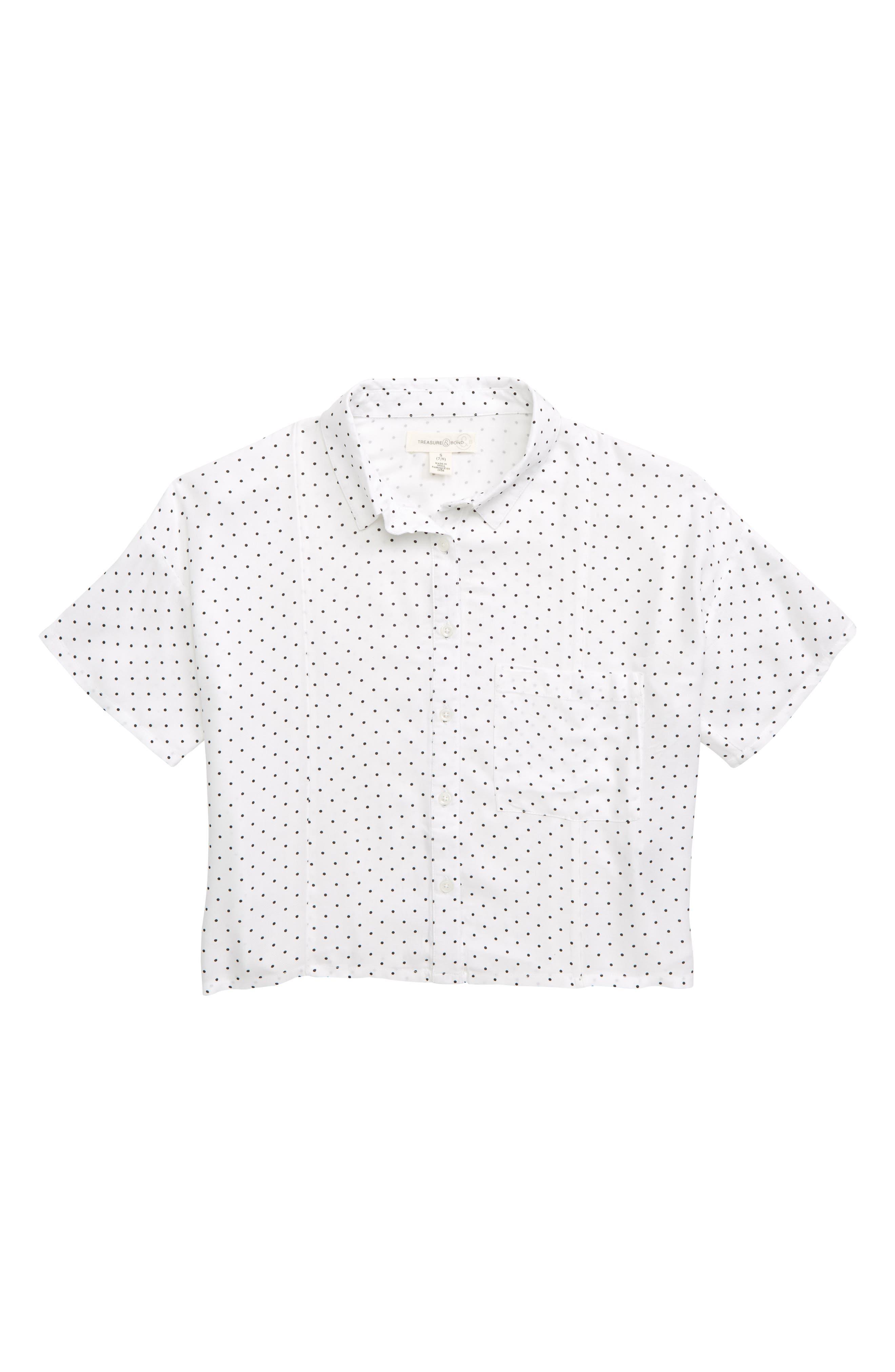 TREASURE & BOND, Boxy Polka Dot Shirt, Main thumbnail 1, color, WHITE- BLACK DOT