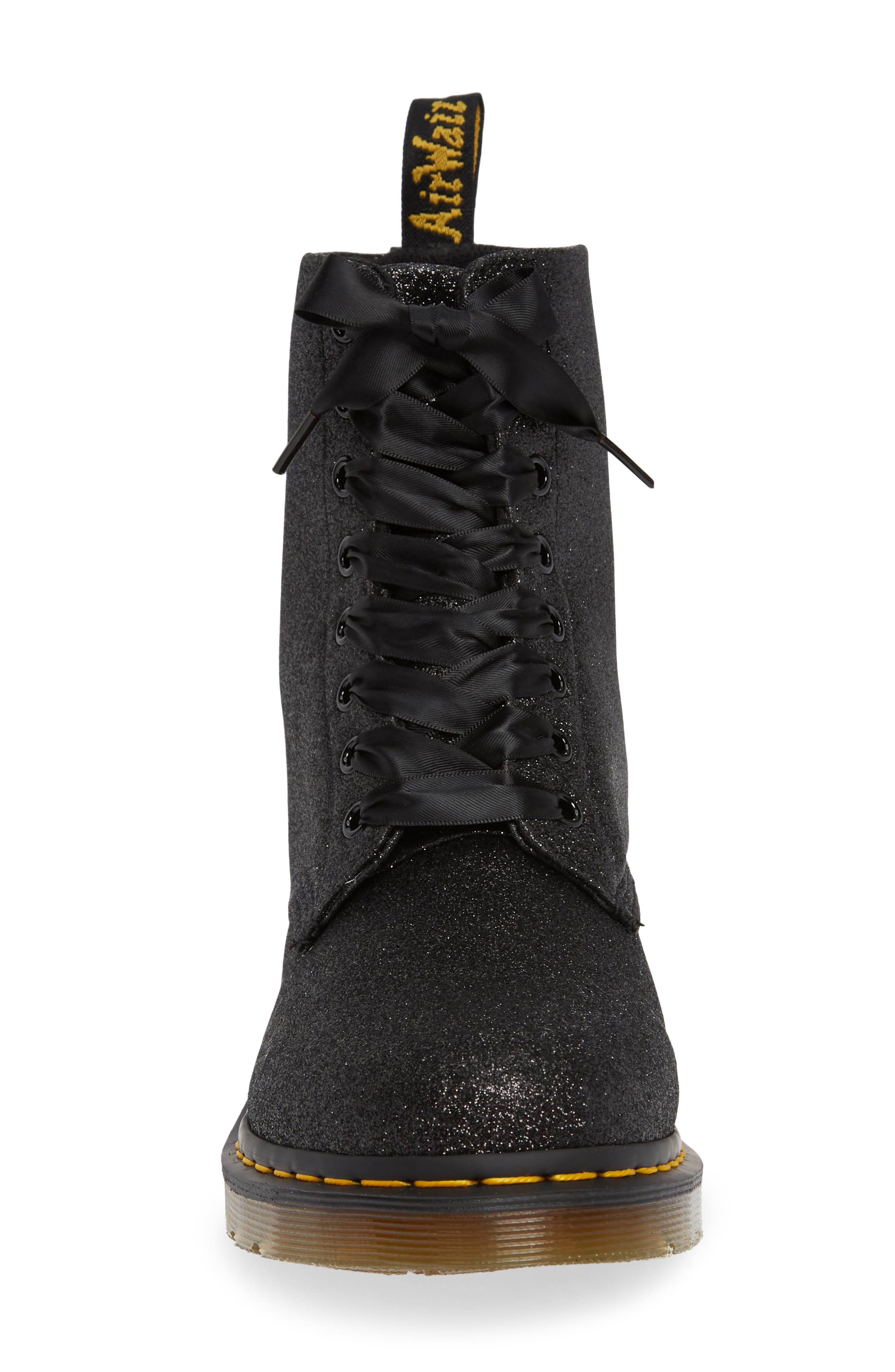 DR. MARTENS, 1460 Pascal Glitter Boot, Alternate thumbnail 4, color, BLACK