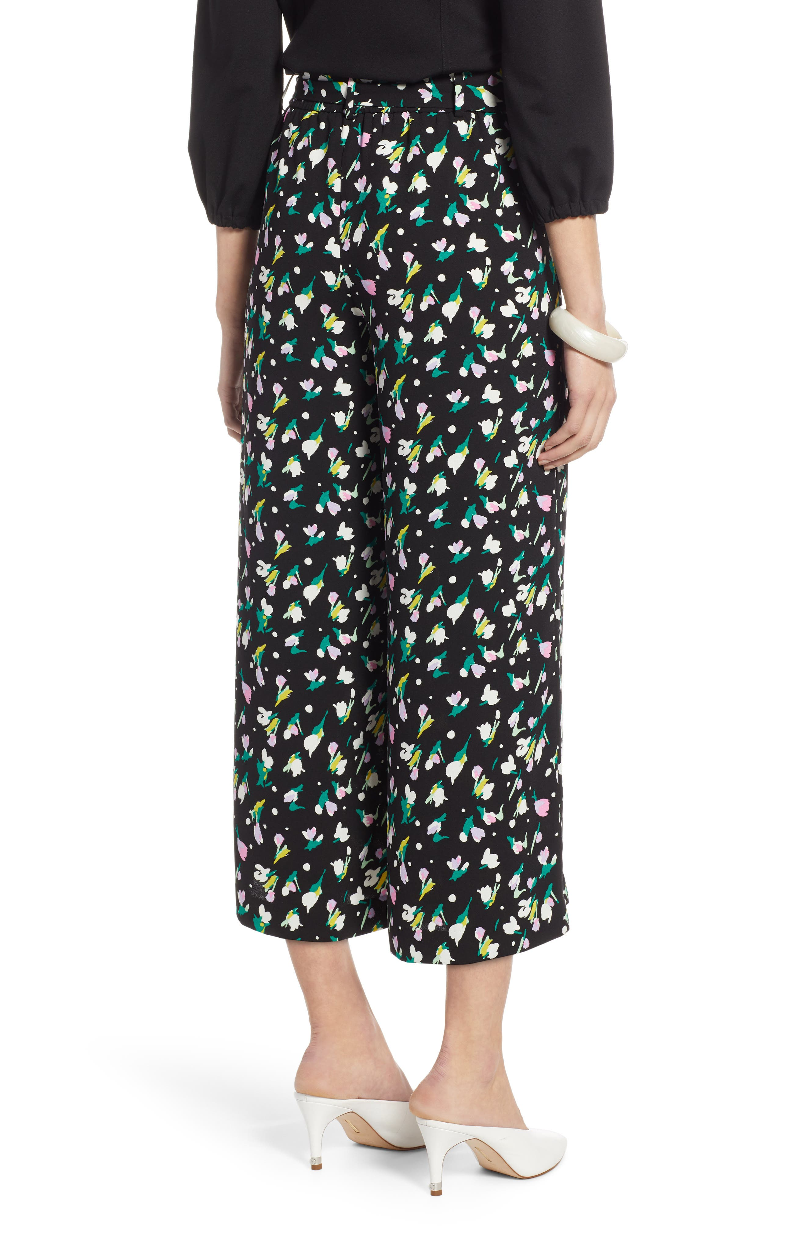 HALOGEN<SUP>®</SUP>, Wide Leg Crop Pants, Alternate thumbnail 2, color, BLACK TINY TULIP PRINT