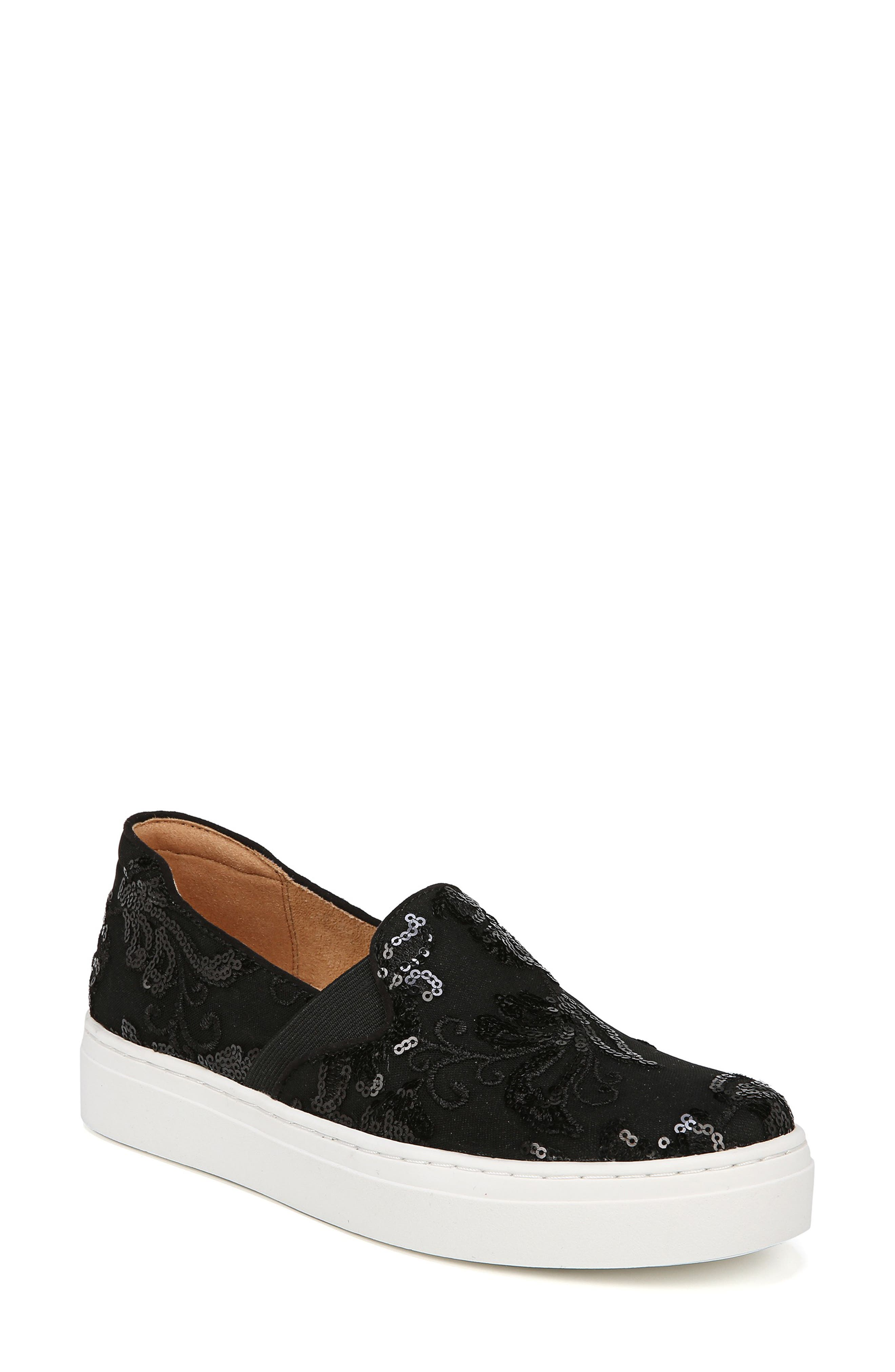 NATURALIZER, Carly Slip-On Sneaker, Main thumbnail 1, color, BLACK EMBROIDERED LACE