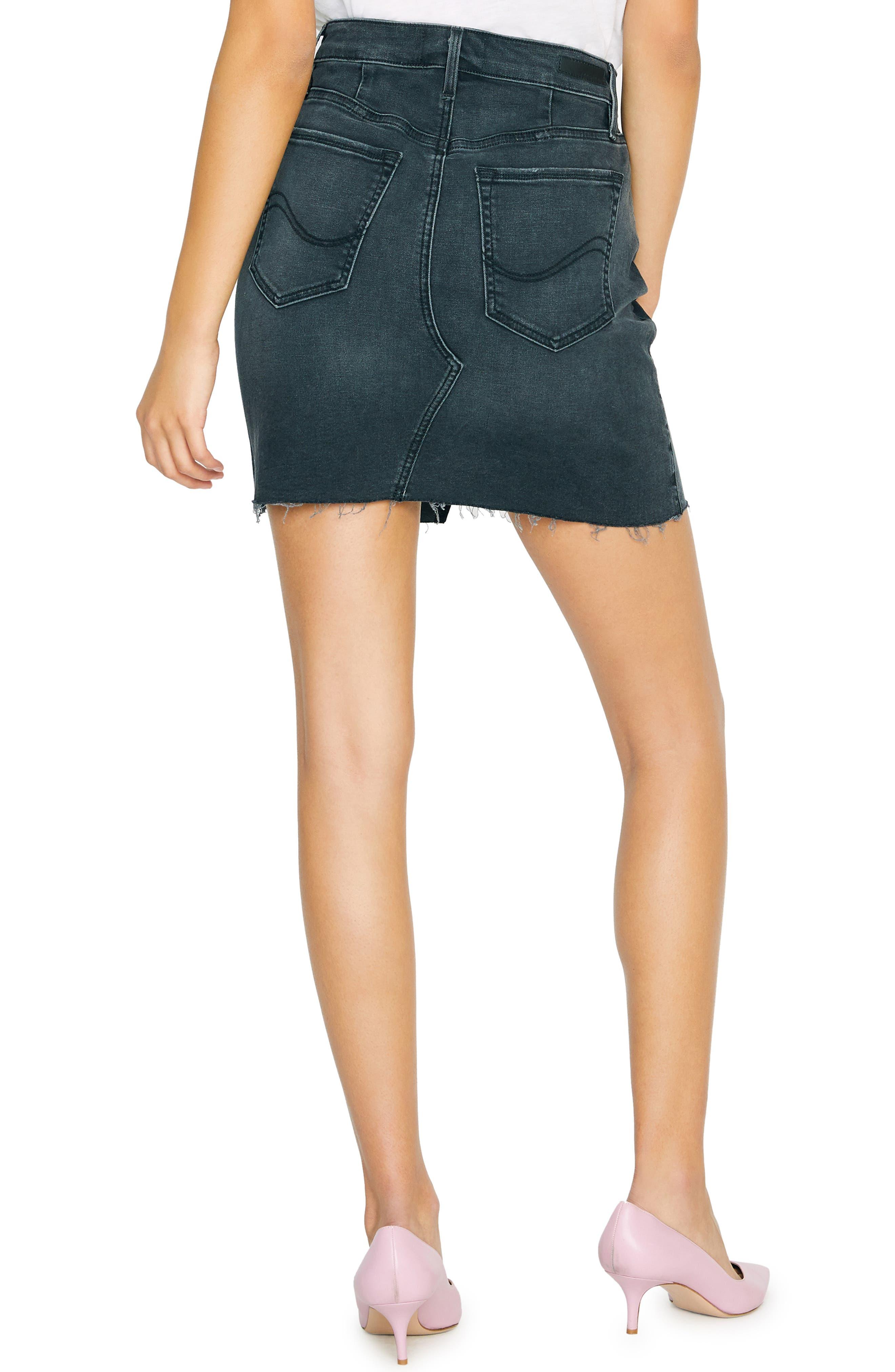 SANCTUARY, Raw Edge Denim Miniskirt, Alternate thumbnail 2, color, ECHO BLACK