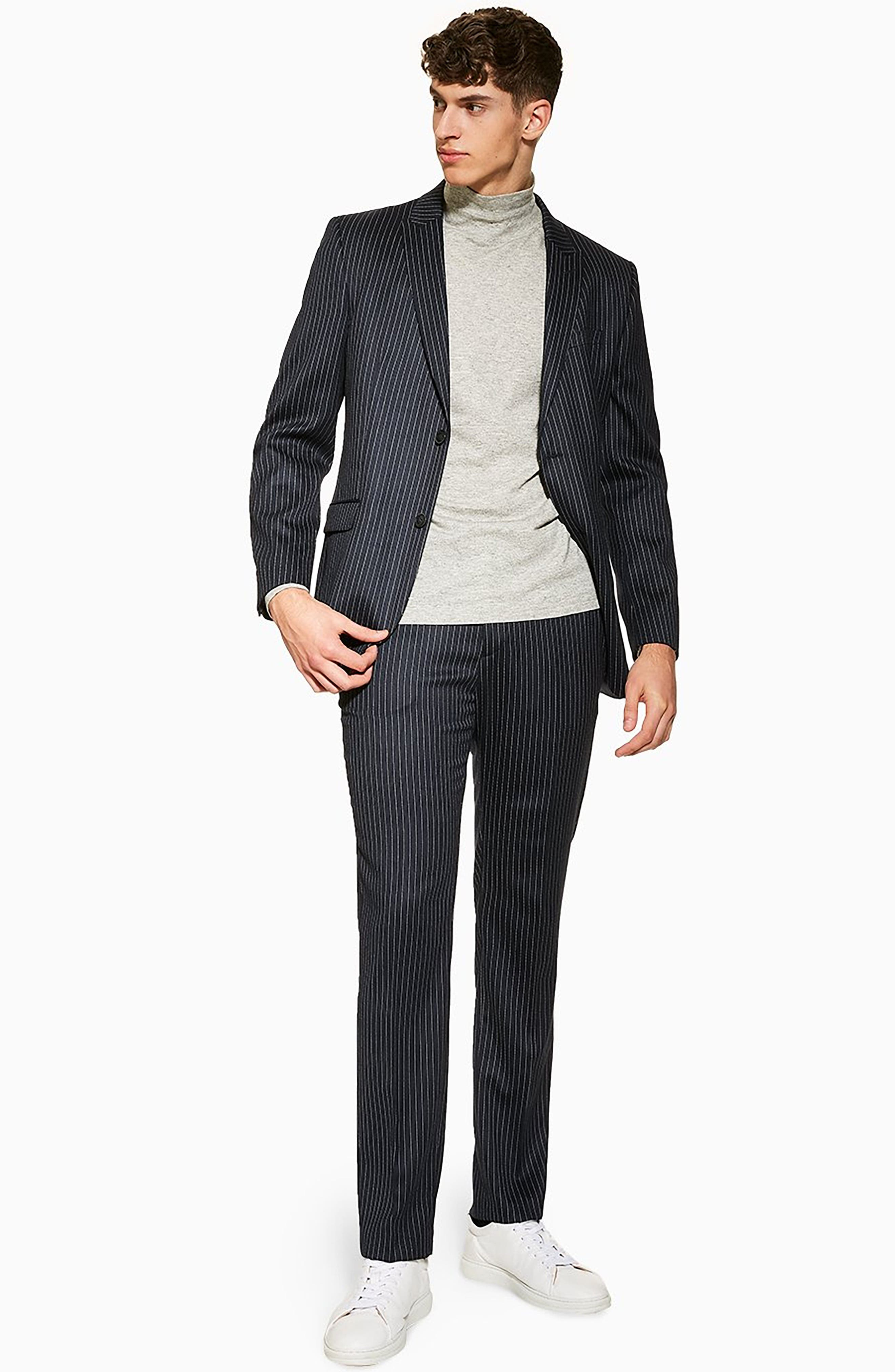 TOPMAN, Tailored Pinstripe Trousers, Alternate thumbnail 4, color, NAVY BLUE