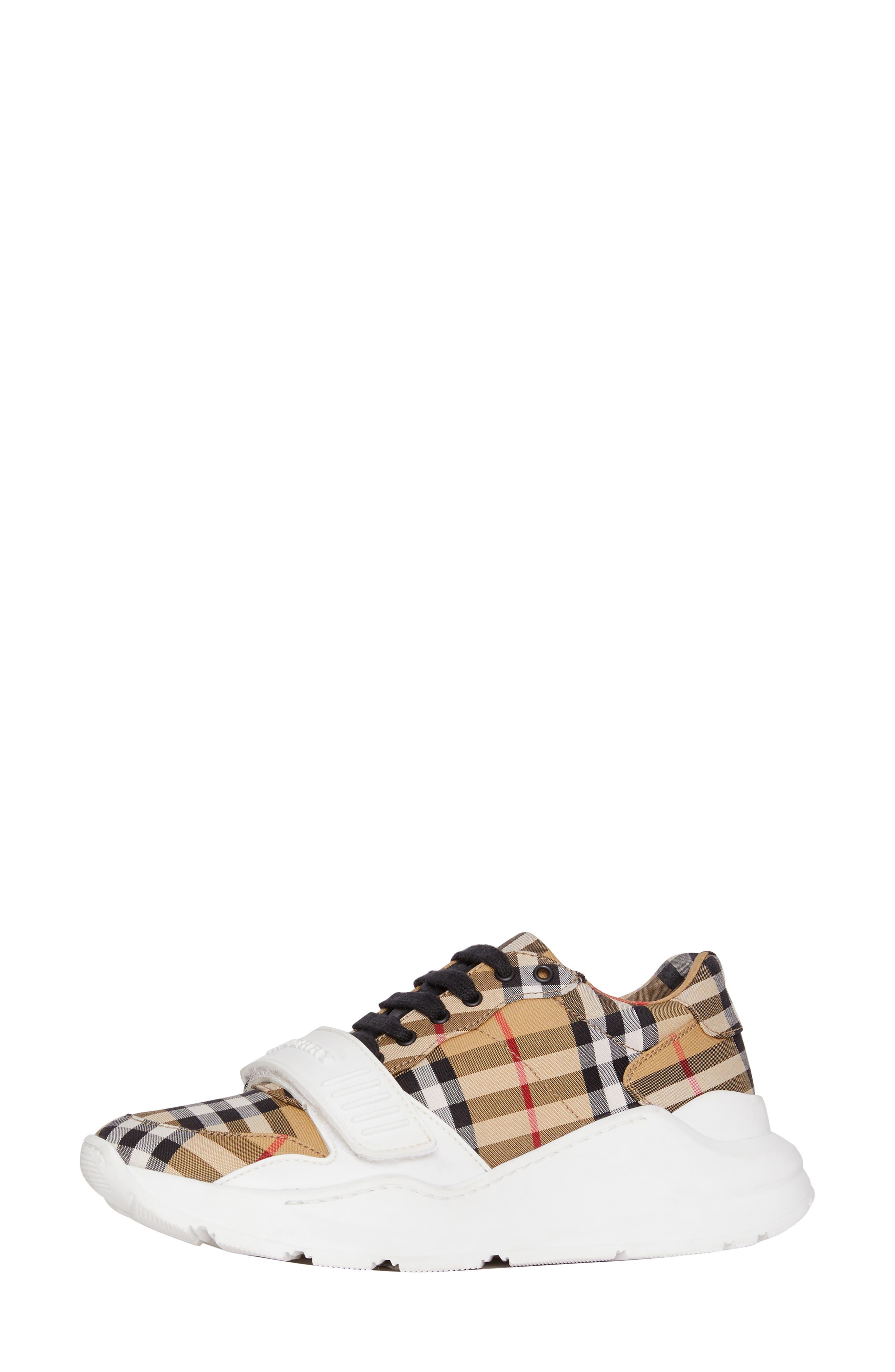 BURBERRY, Regis Check Lace-Up Sneaker, Alternate thumbnail 9, color, BEIGE PLAID