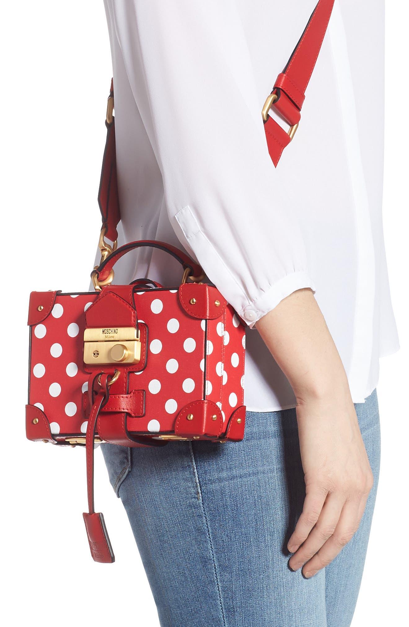MOSCHINO, Polka Dot Box Leather Crossbody Bag, Alternate thumbnail 2, color, RED
