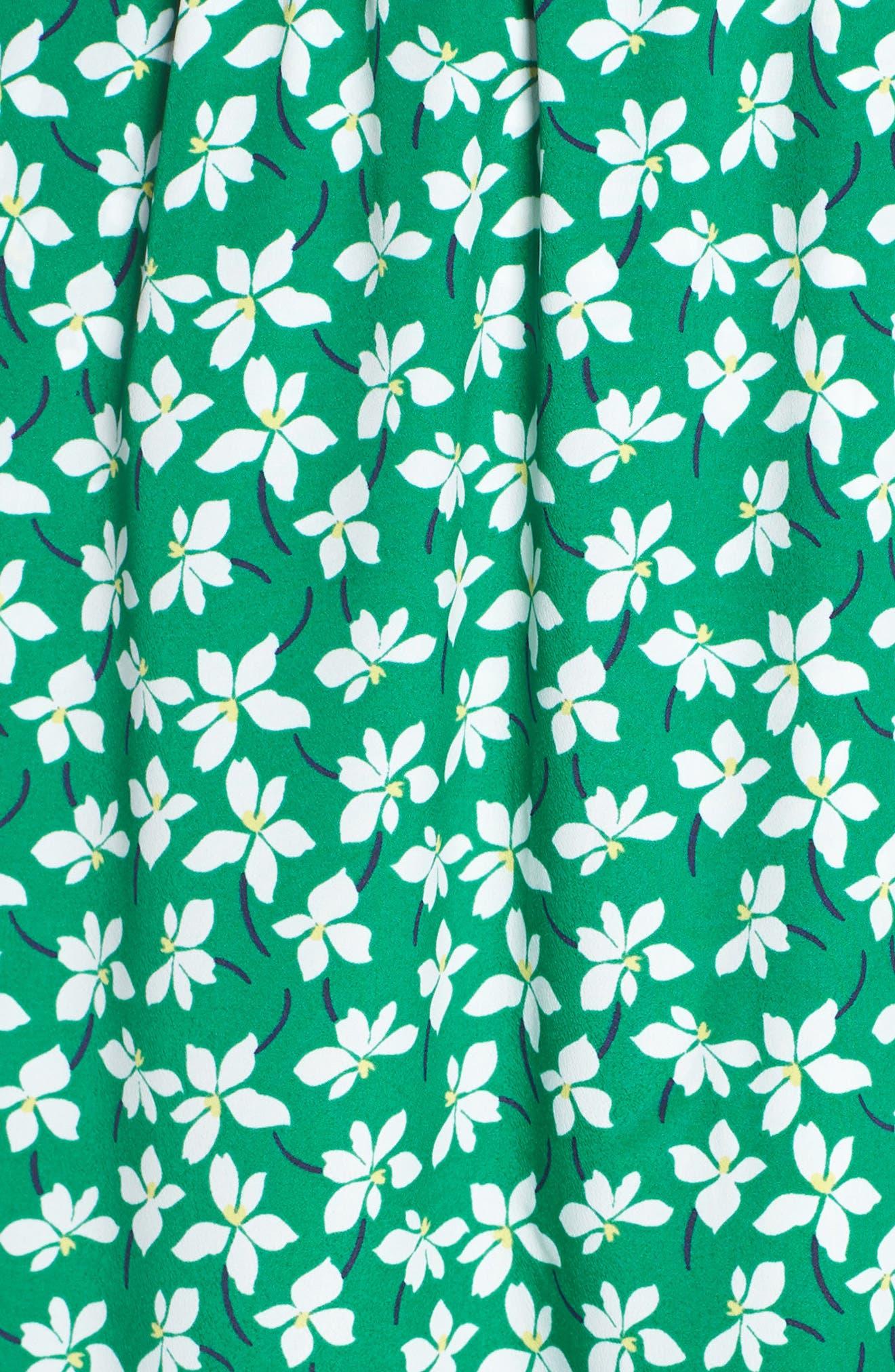 ELIZA J, Floral High/Low Faux Wrap Dress, Alternate thumbnail 6, color, GREEN