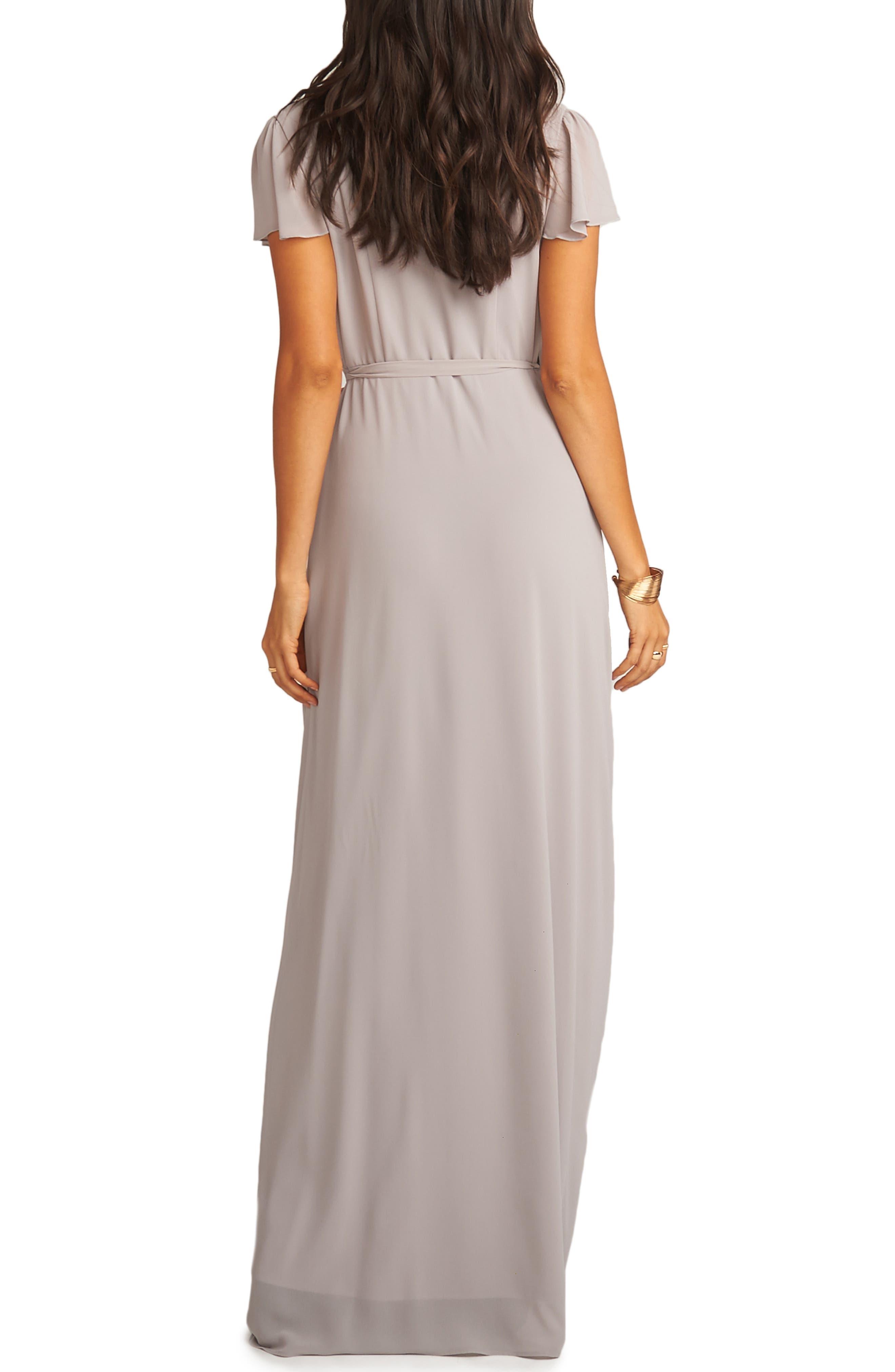 SHOW ME YOUR MUMU, Noelle Wrap Dress, Alternate thumbnail 2, color, DOVE GREY