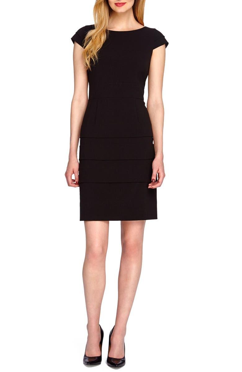4c3eb2bc TAHARI Tiered Bi-Stretch Sheath Dress, Main, color, 001