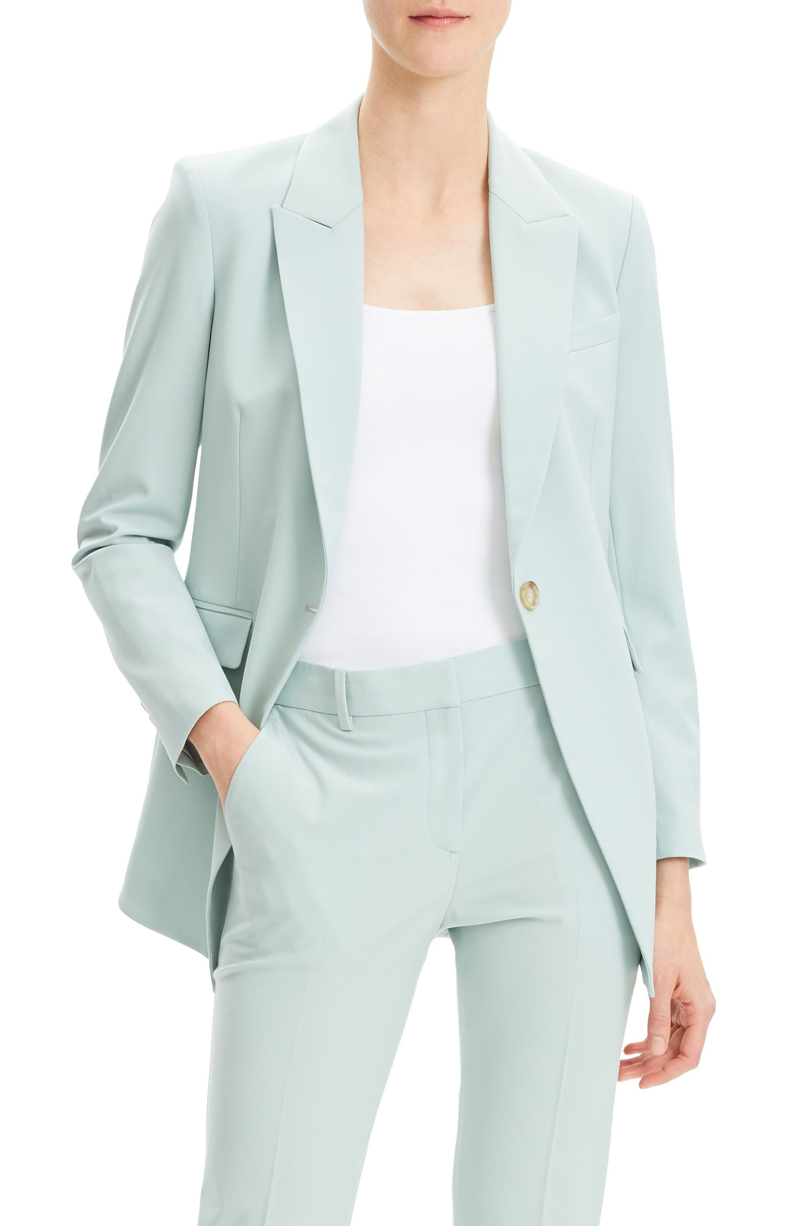 THEORY, Etienette B Good Wool Suit Jacket, Main thumbnail 1, color, OPAL GREEN