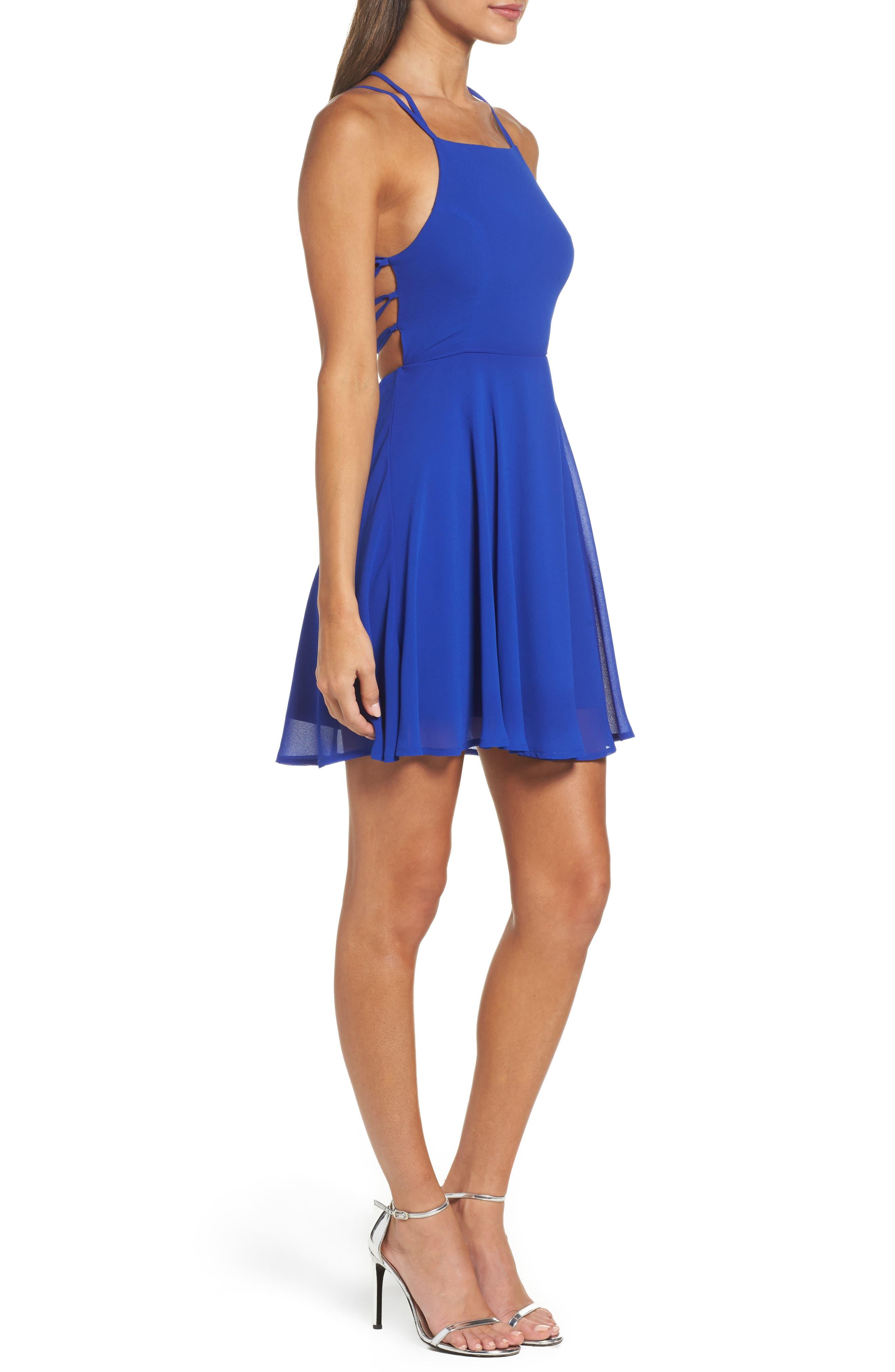 LULUS, Good Deeds Lace-Up Skater Dress, Alternate thumbnail 4, color, ROYAL BLUE