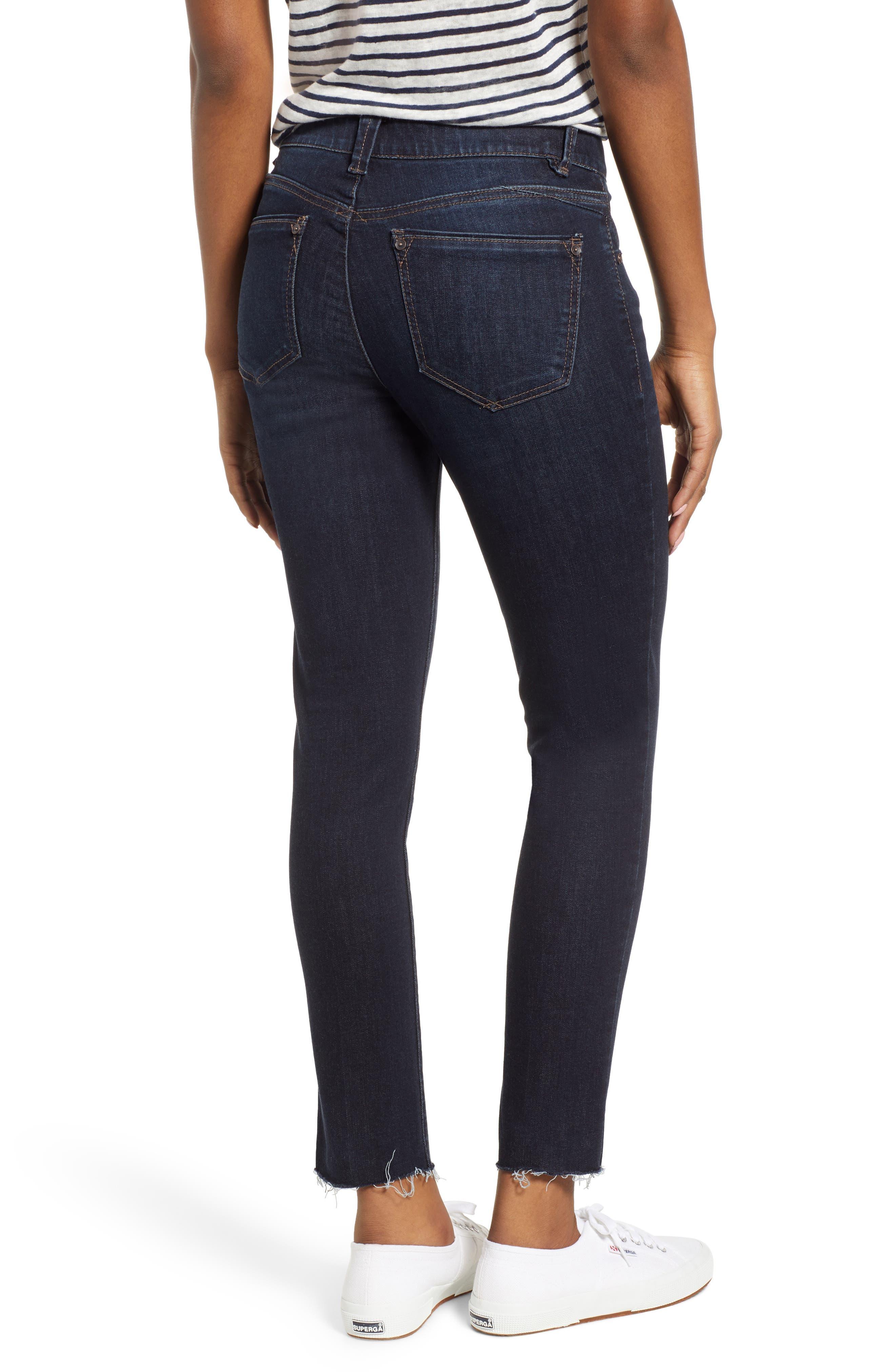 WIT & WISDOM, Ab-Solution Raw Hem Skinny Jeans, Alternate thumbnail 2, color, INDIGO