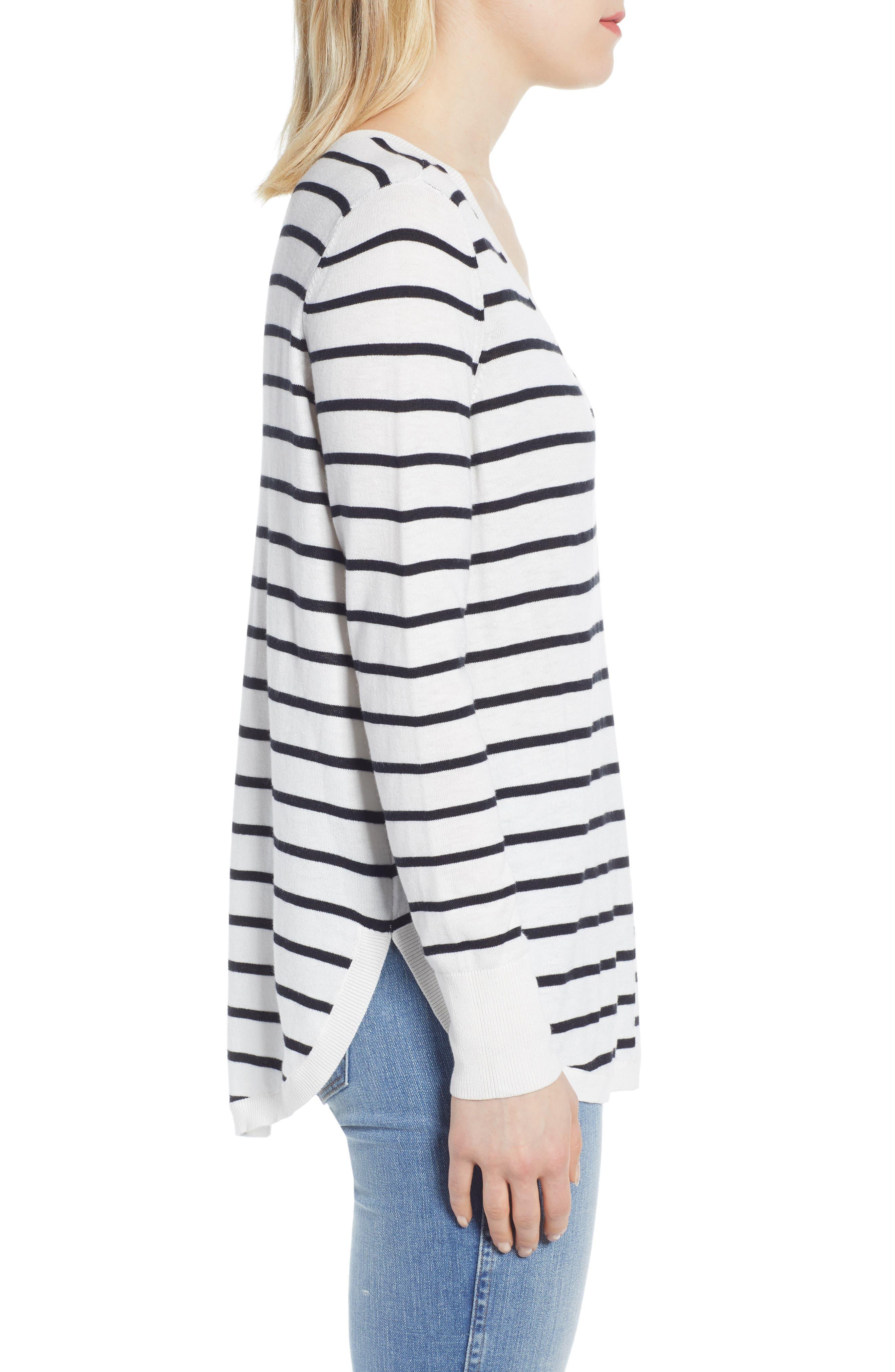 CASLON<SUP>®</SUP>, High-Low V-neck Sweater, Alternate thumbnail 3, color, IVORY- BLACK PRITHI STRIPE