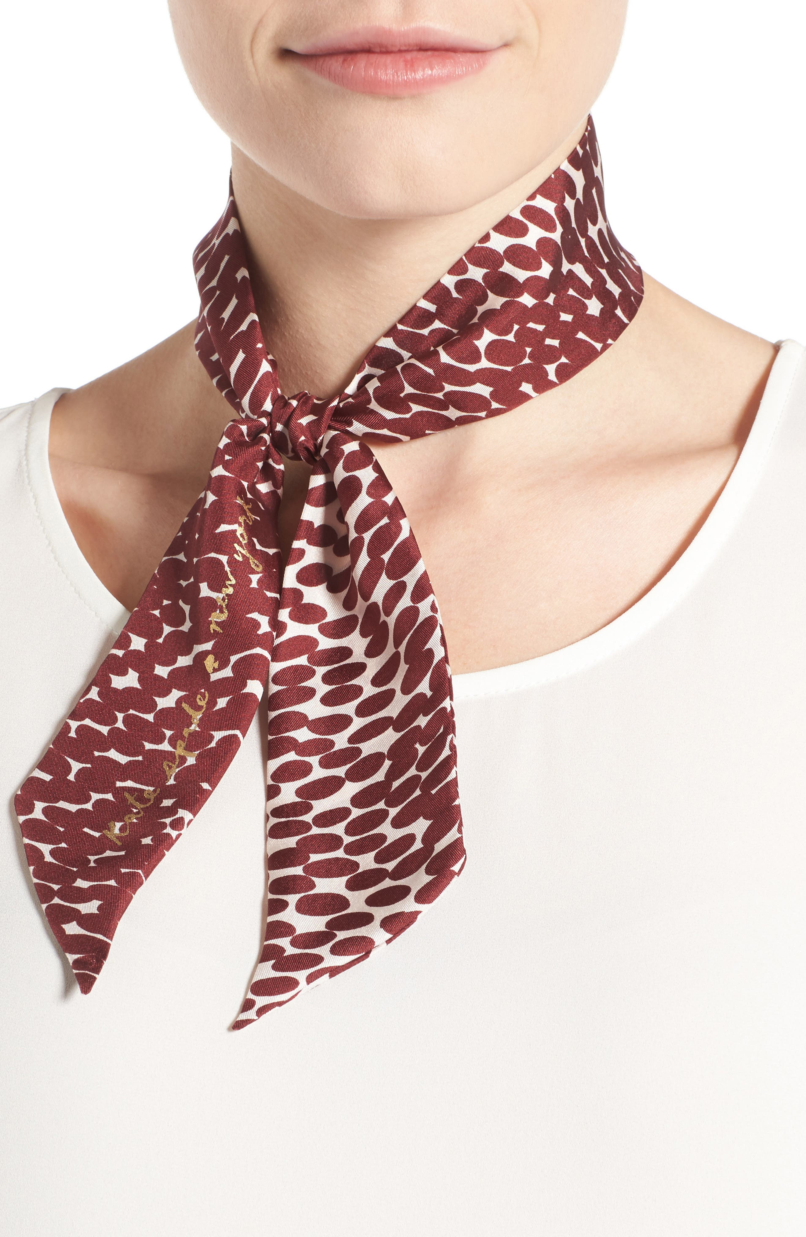 KATE SPADE NEW YORK dappled skinny scarf, Main, color, 608