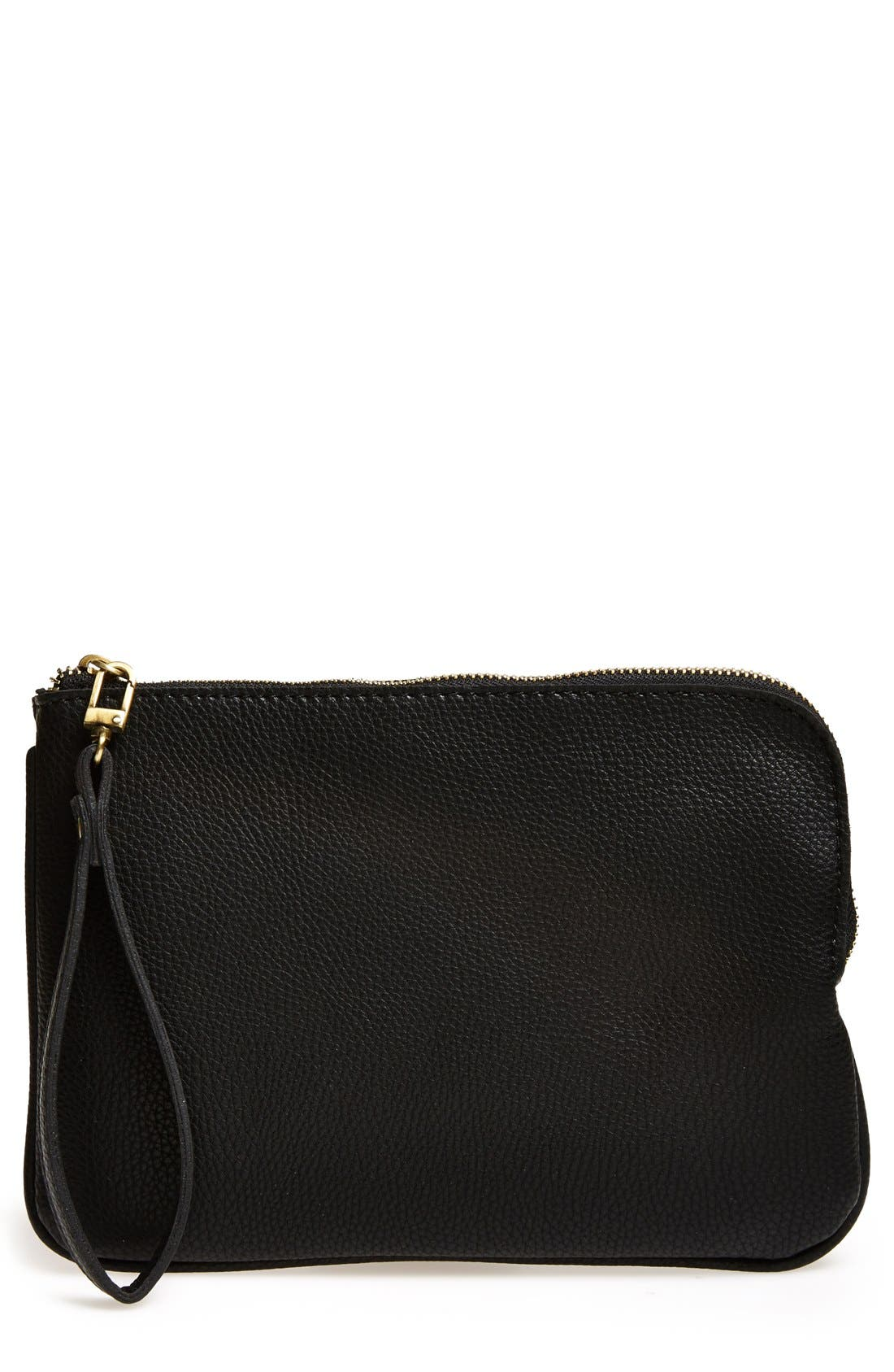 STREET LEVEL Faux Leather Wristlet, Main, color, 001