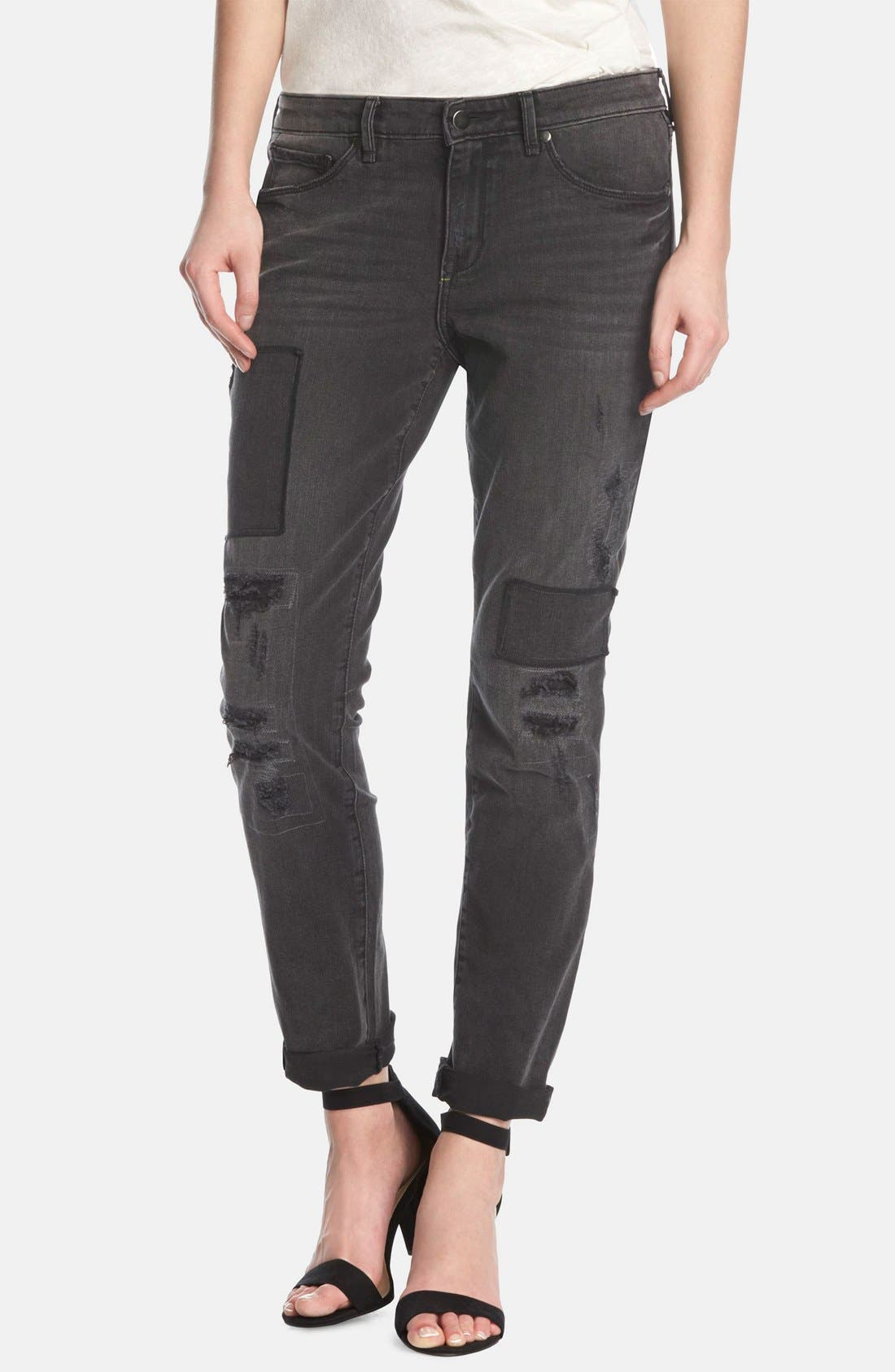 KIIND OF, 'Artful' Distressed Relaxed Jeans, Main thumbnail 1, color, 001