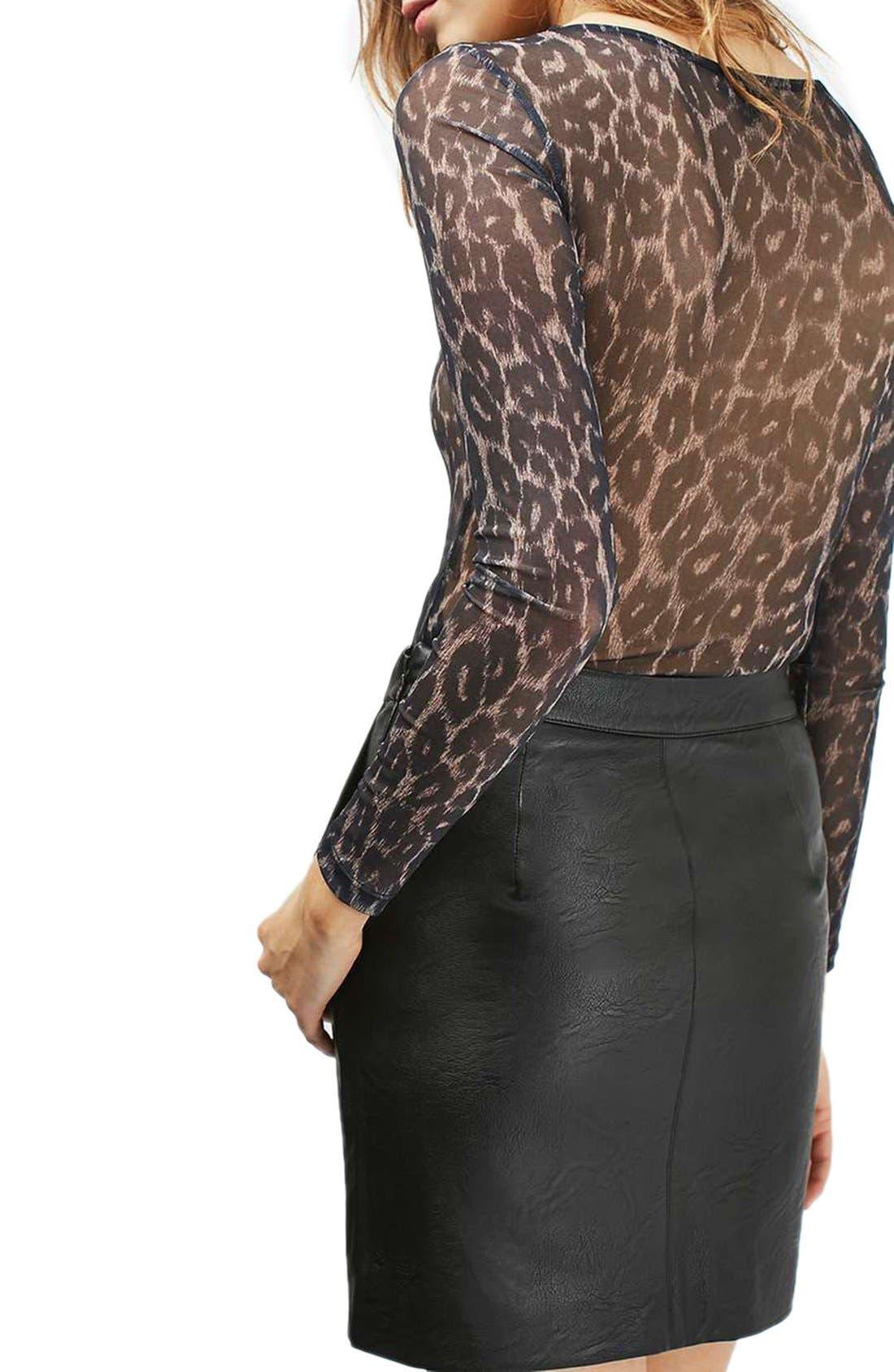 TOPSHOP, Faux Leather Pencil Skirt, Alternate thumbnail 5, color, 001