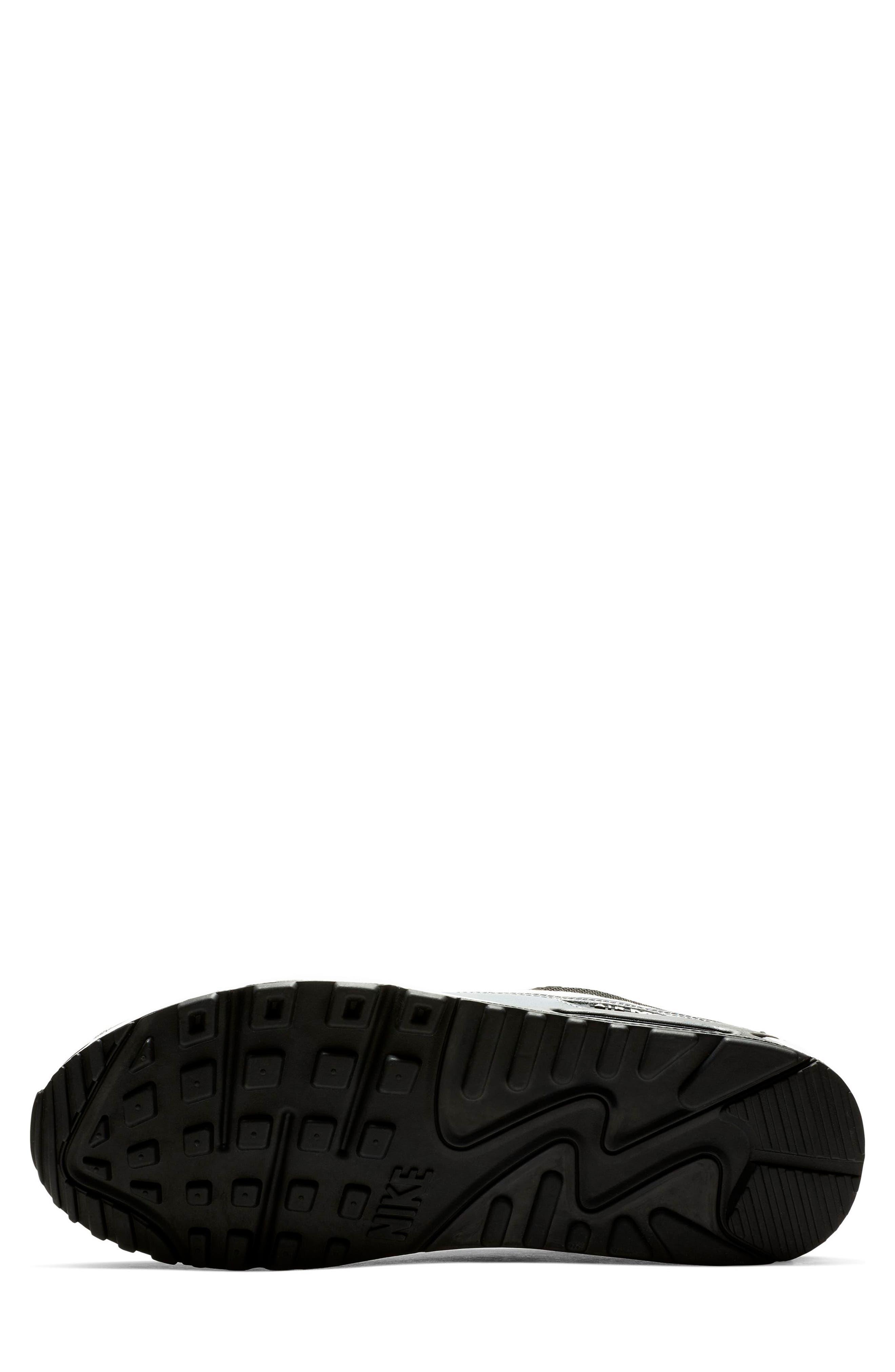 NIKE, Air Max 90 Essential Sneaker, Alternate thumbnail 4, color, BLACK/ WHITE/ COOL GREY