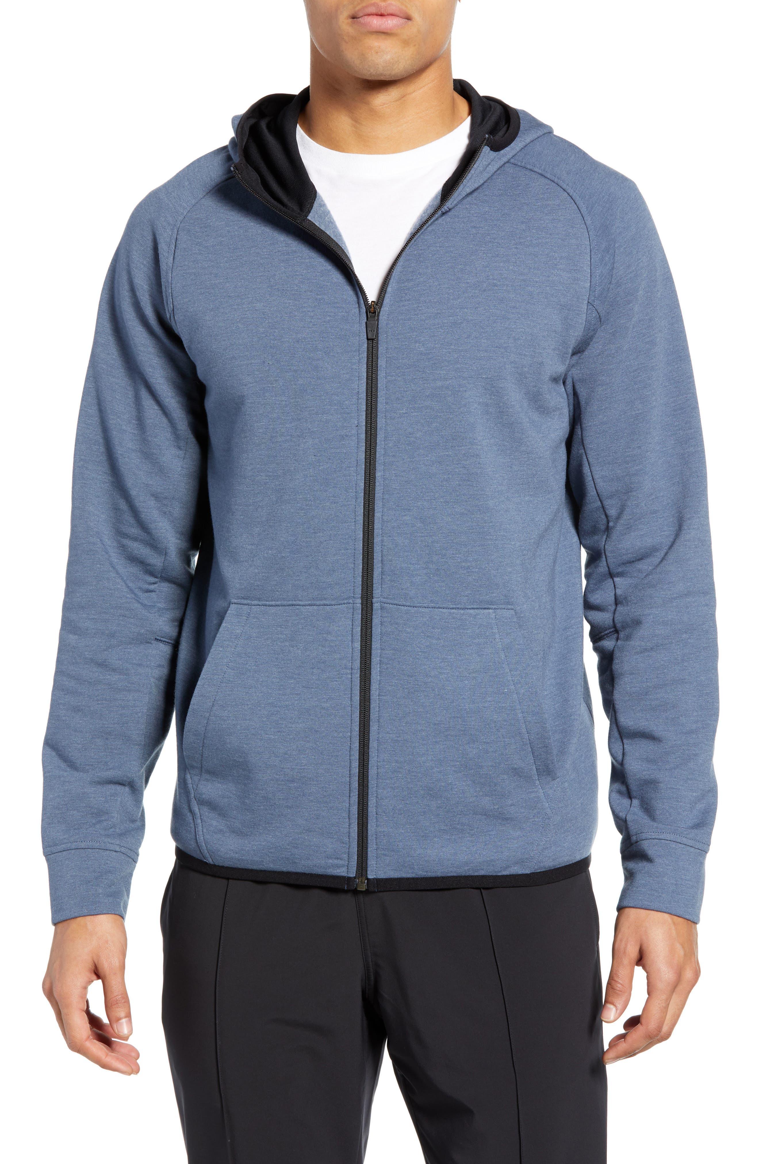ZELLA Zip Fleece Hoodie, Main, color, BLUE VINTAGE MELANGE