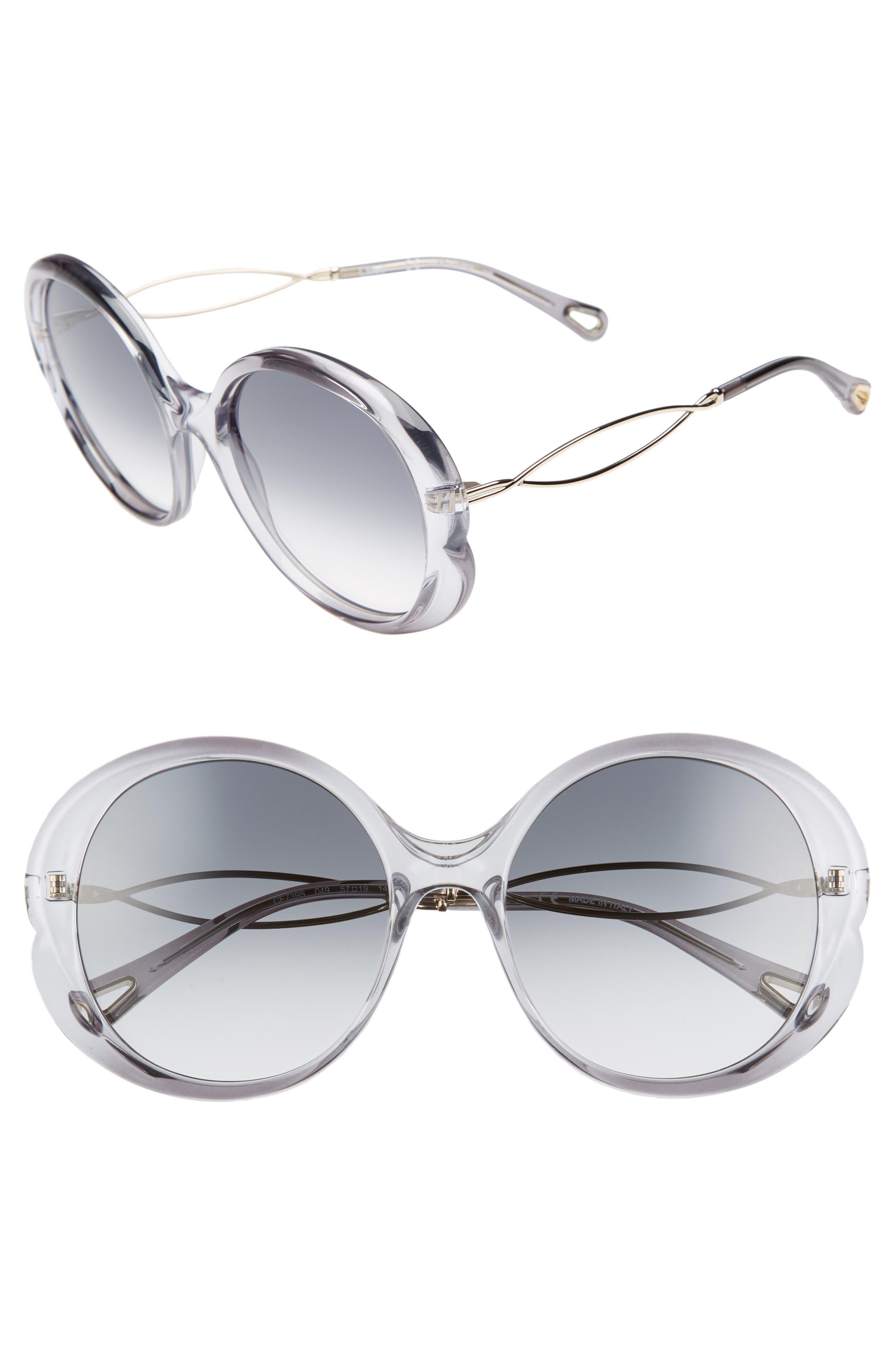 CHLOÉ Petal 57mm Gradient Round Sunglasses, Main, color, GREY/ LIGHT GREY