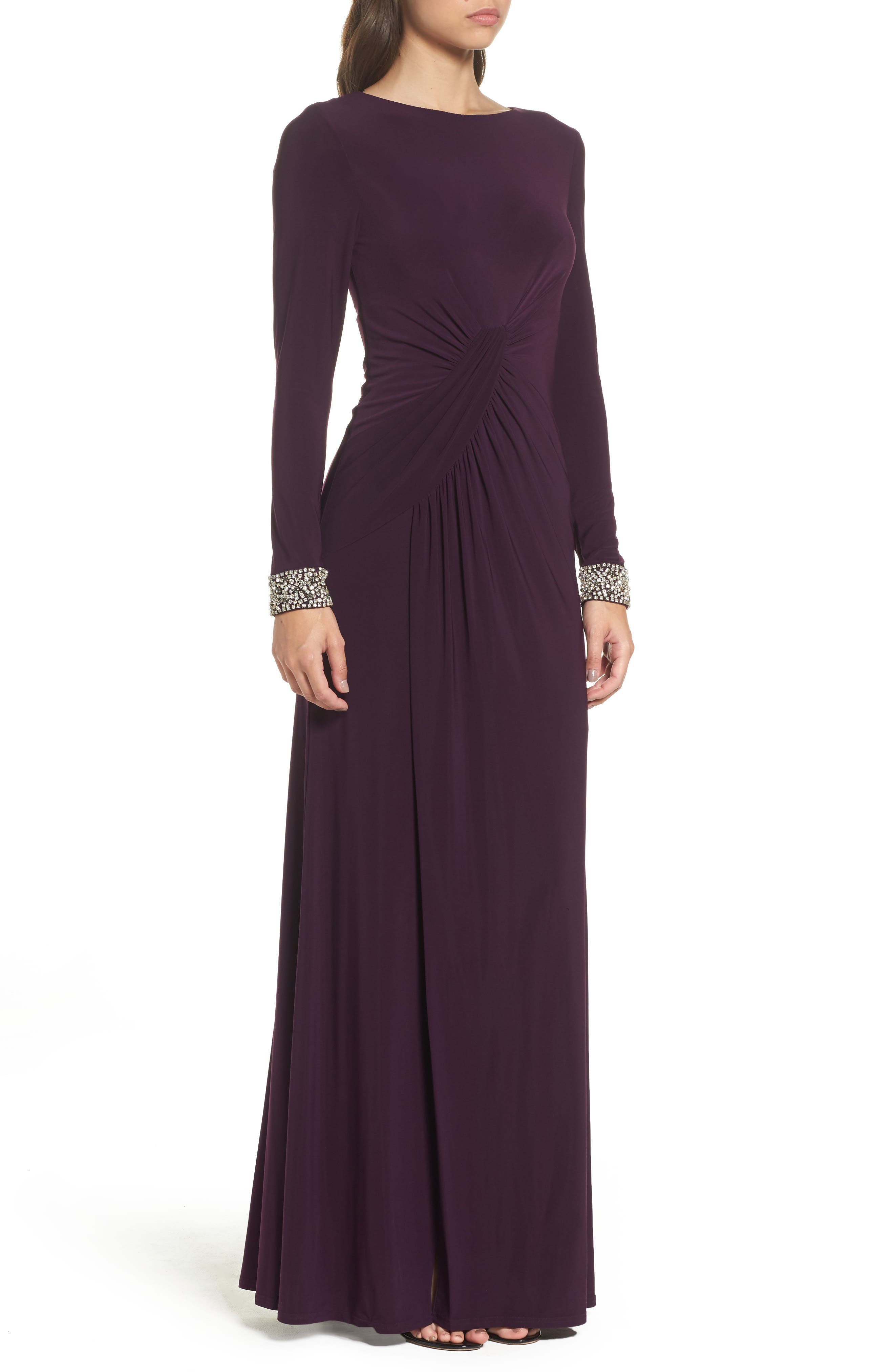 VINCE CAMUTO, Beaded Cuff Ruched Jersey Gown, Alternate thumbnail 3, color, 505