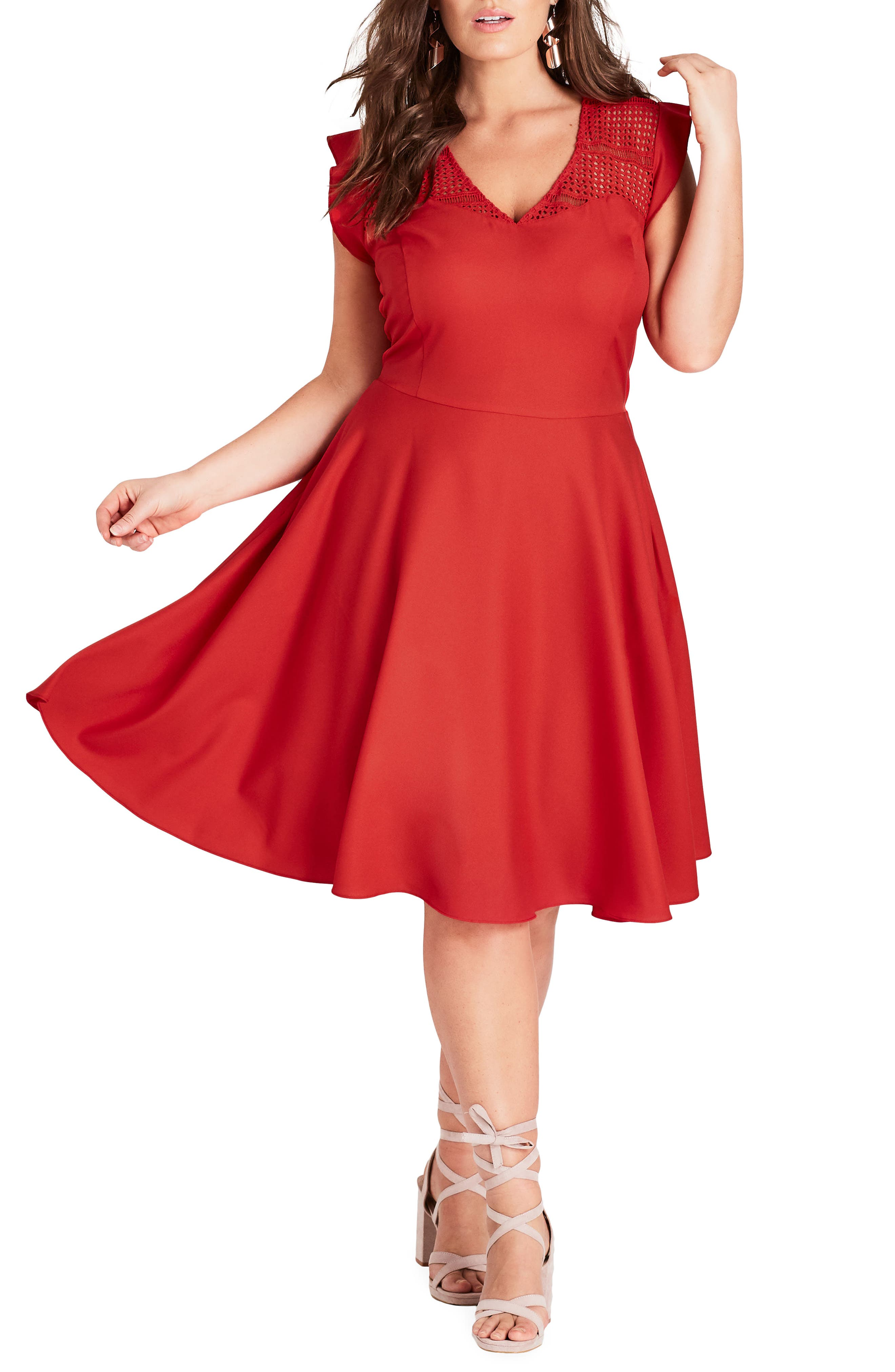 Plus Size City Chic First Place Crochet Yoke Fit & Flare Dress, Red
