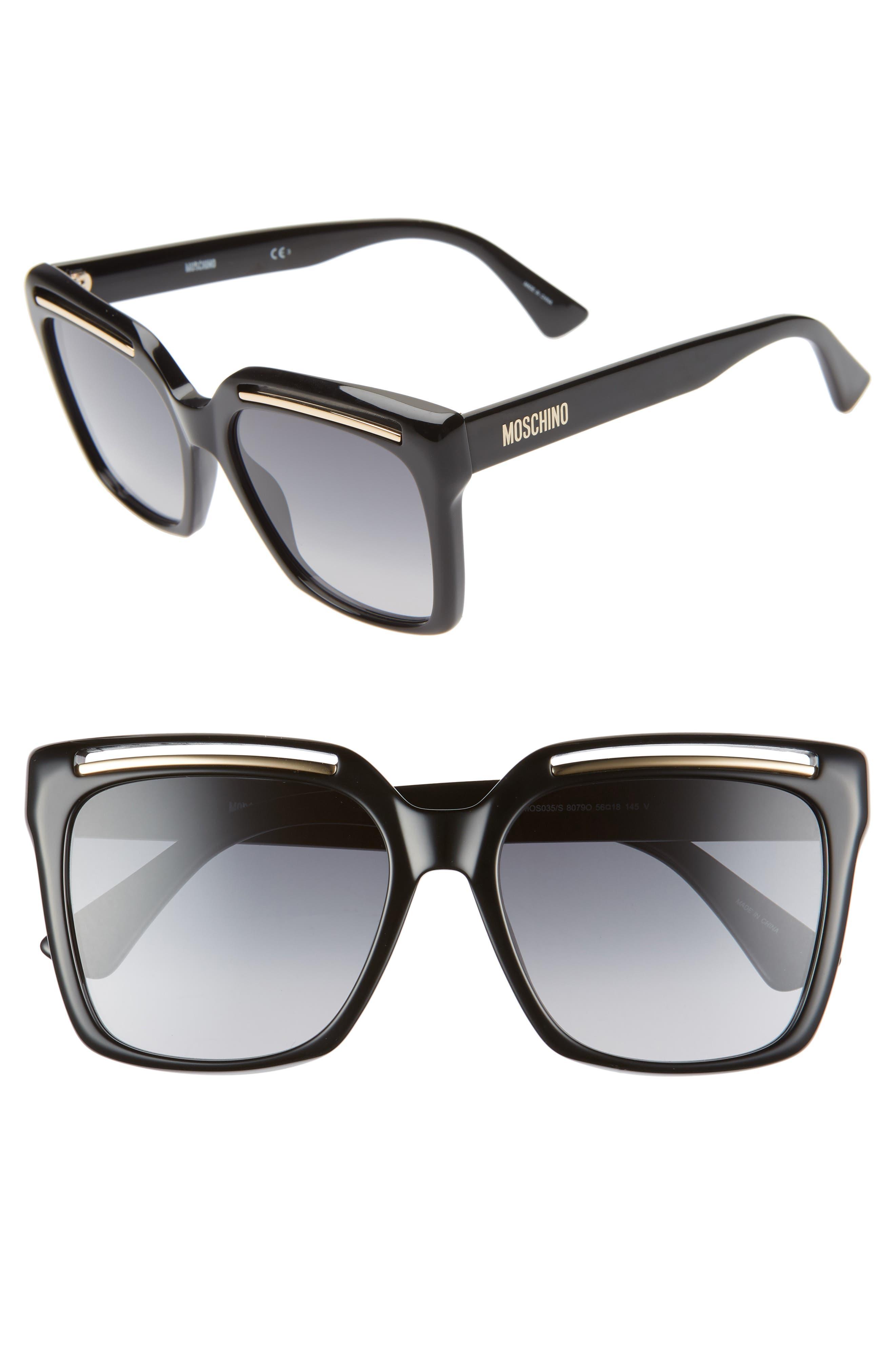 MOSCHINO 56mm Gradient Square Sunglasses, Main, color, BLACK