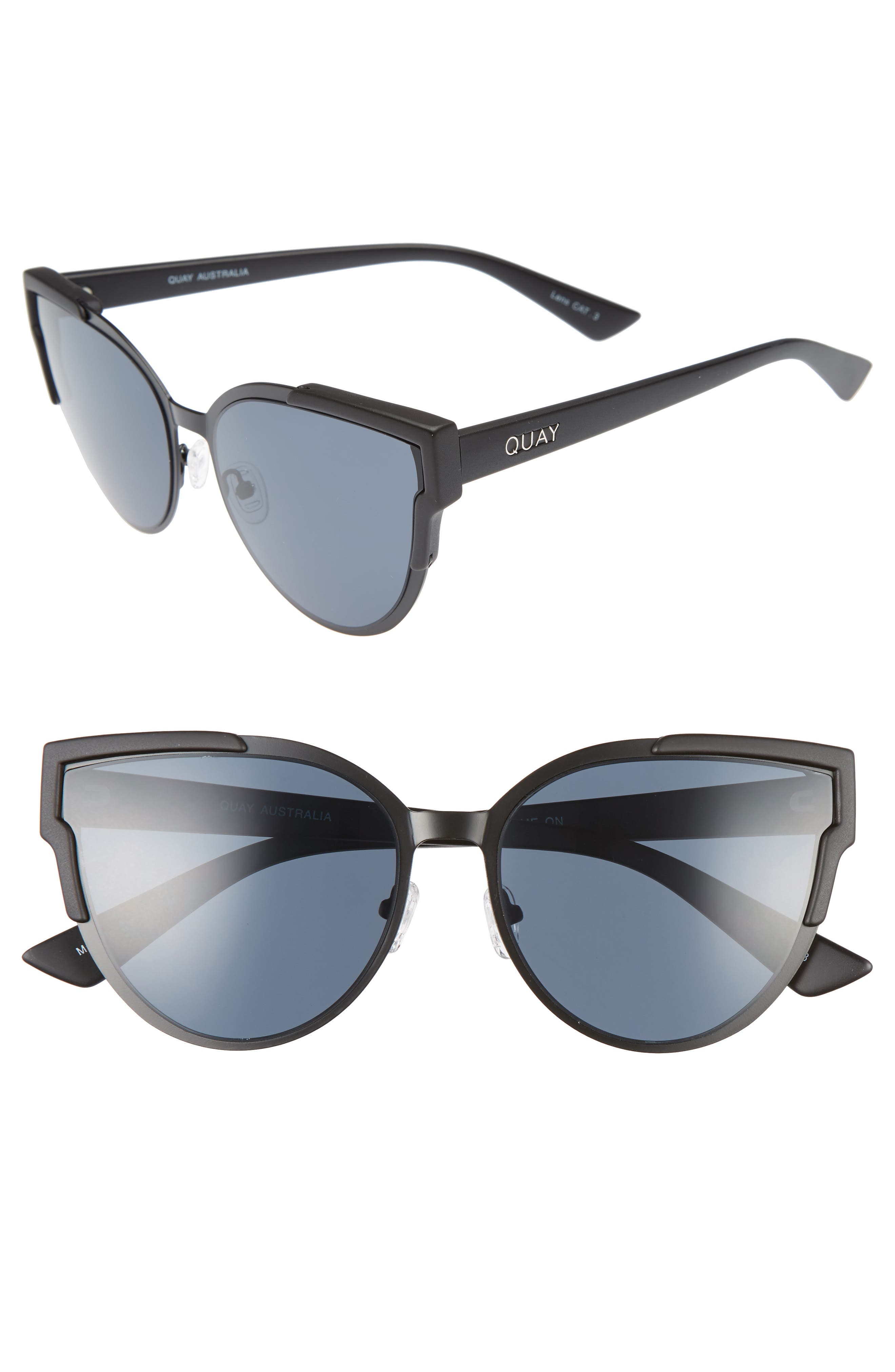 QUAY AUSTRALIA Game On 57mm Cat Eye Sunglasses, Main, color, 001