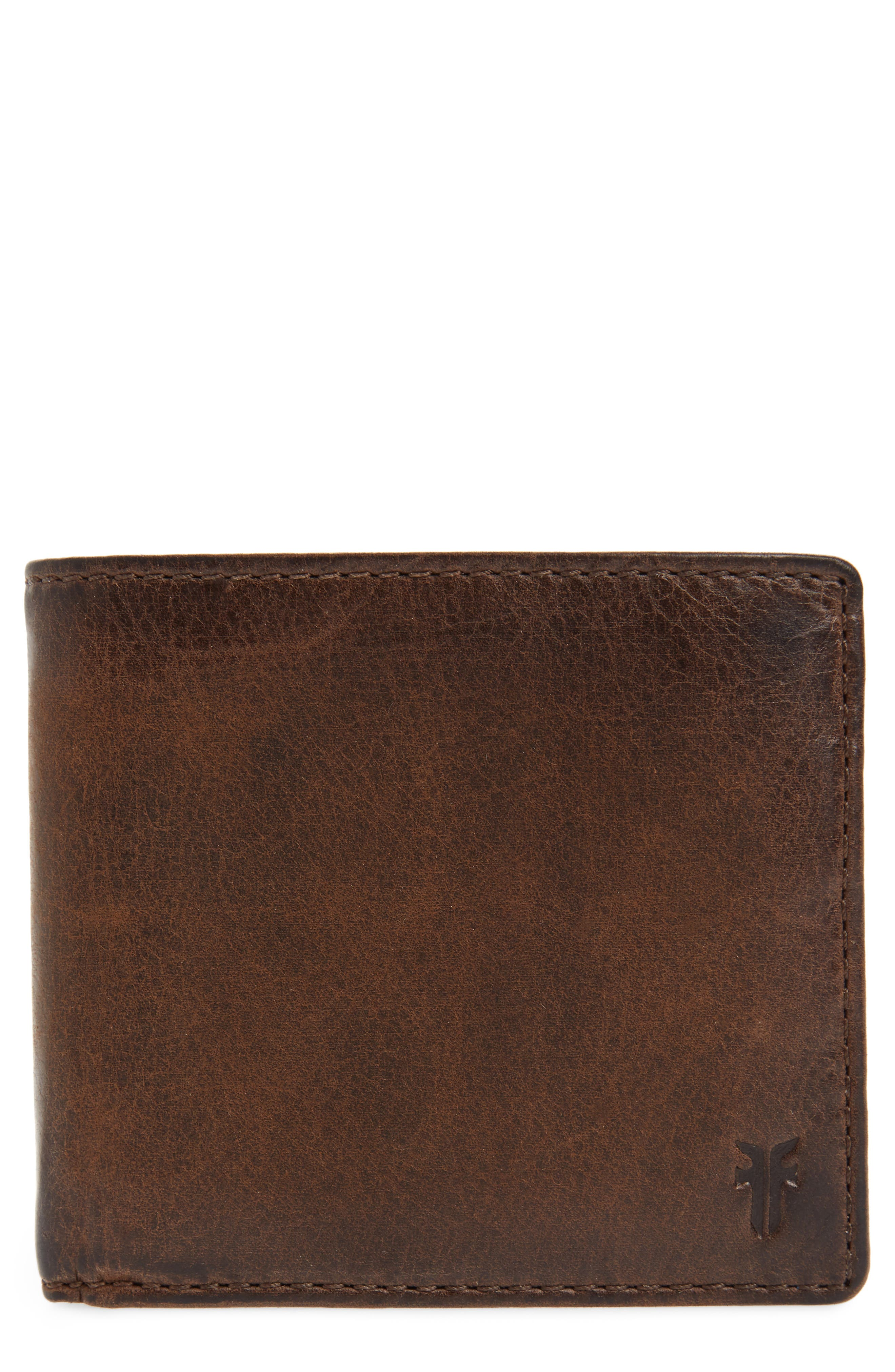 FRYE, Oliver Leather Wallet, Main thumbnail 1, color, DARK BROWN