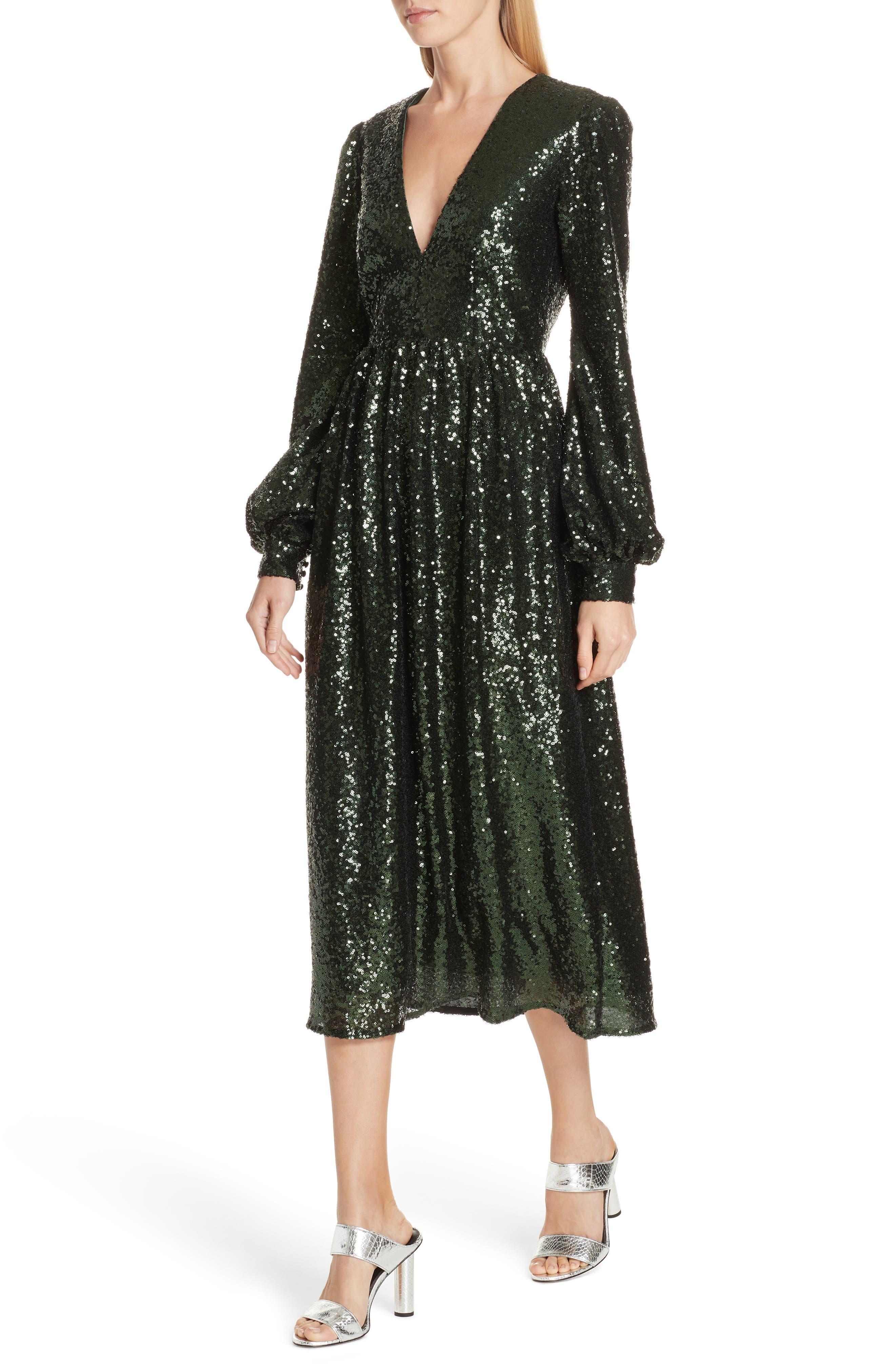 SALONI, Camille Sequin Midi Dress, Alternate thumbnail 5, color, DARK GREEN
