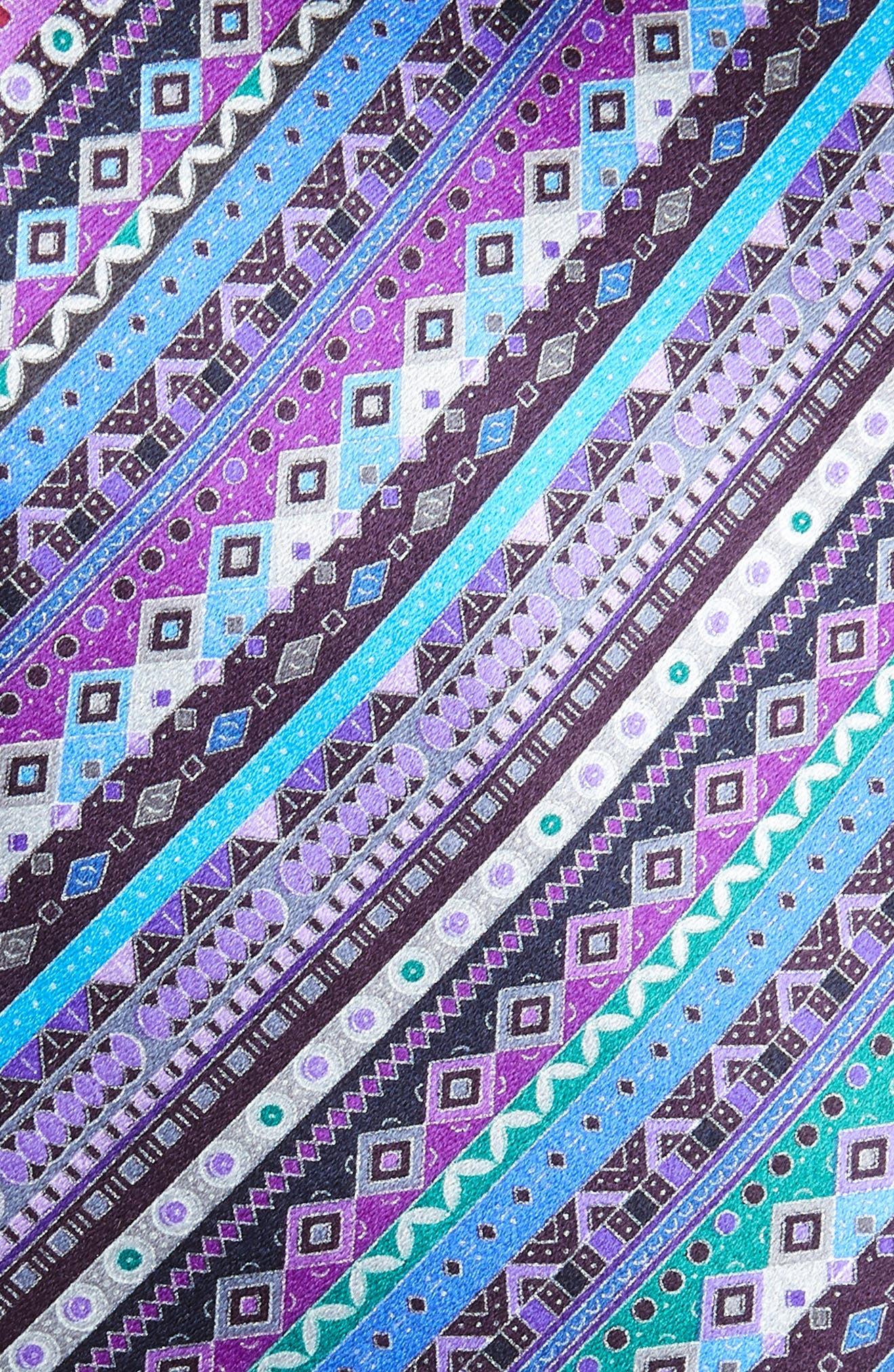 ERMENEGILDO ZEGNA, Venticinque Stripe Silk Tie, Alternate thumbnail 2, color, PURPLE