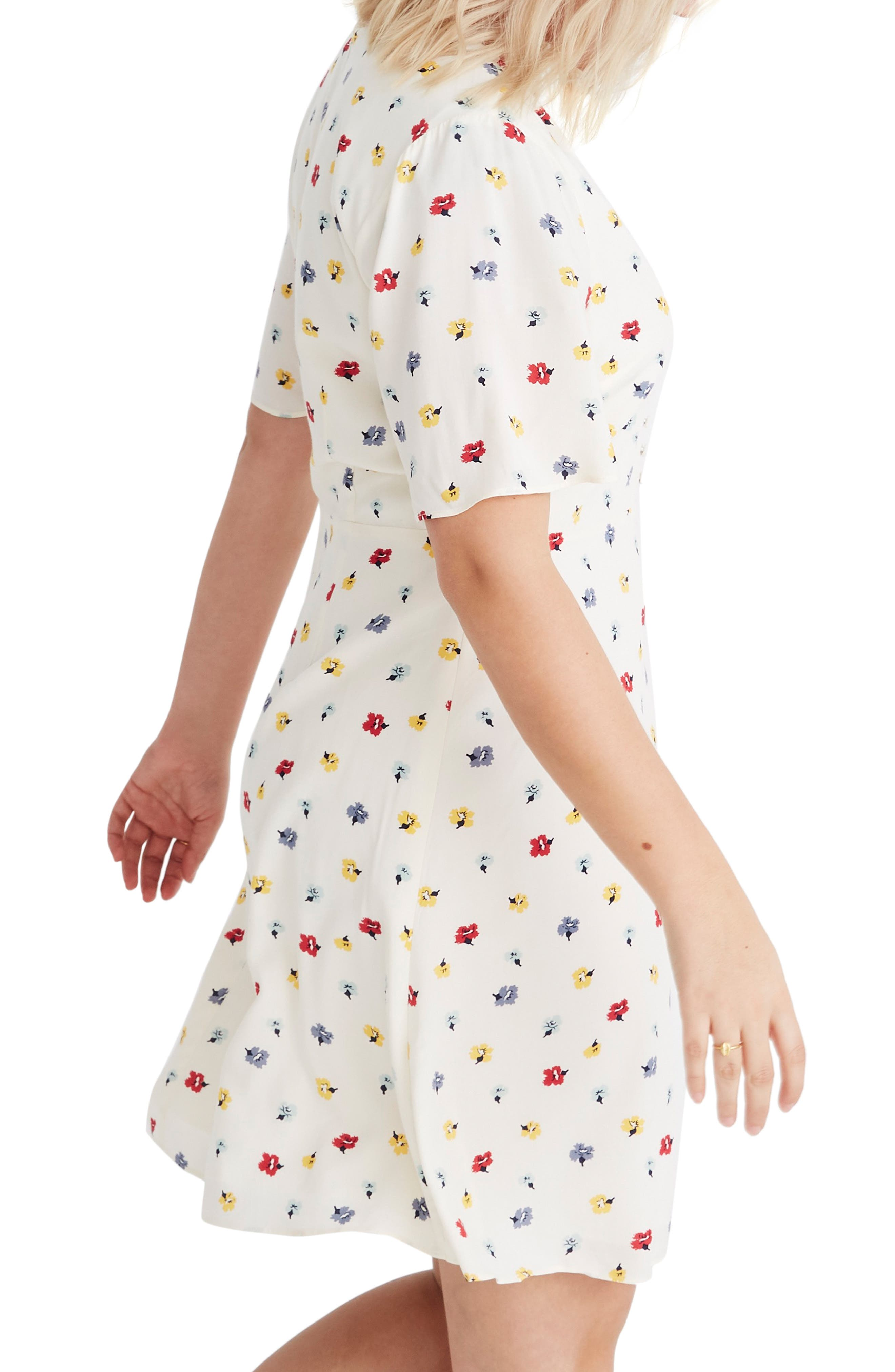 MADEWELL, Orchard Confetti Floral Flutter Sleeve Dress, Alternate thumbnail 3, color, 900