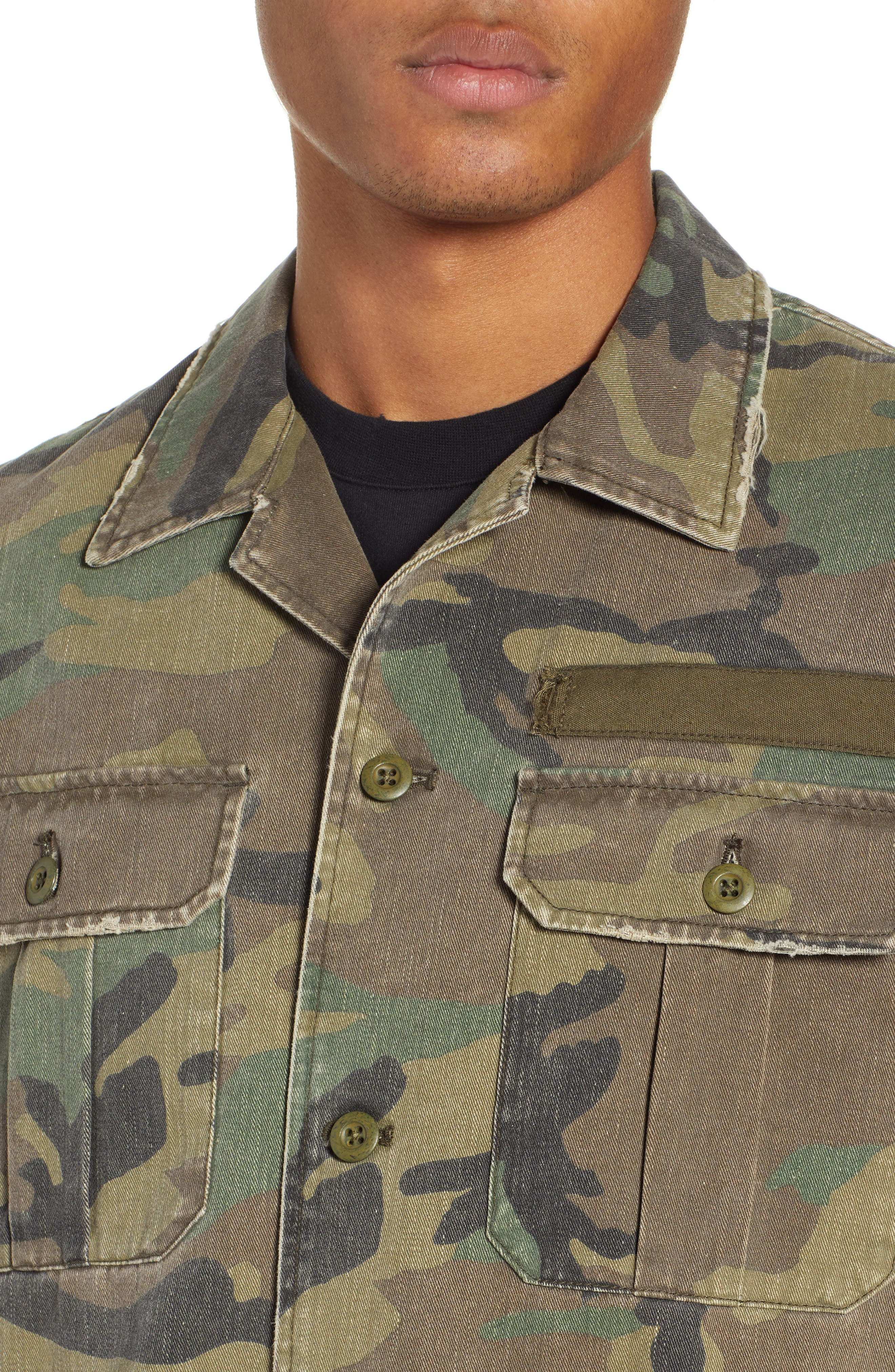 THE KOOPLES, Camou Classic Fit Twill Shirt Jacket, Alternate thumbnail 2, color, CAMOUFLAGE