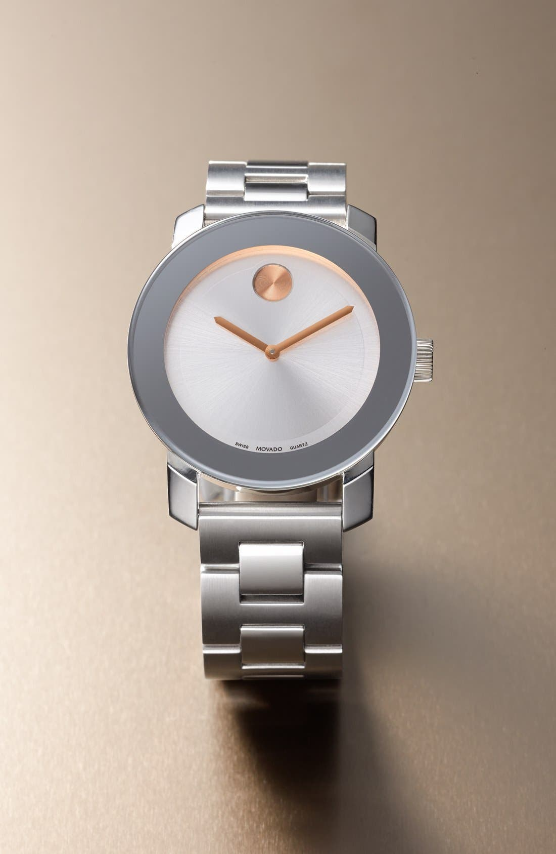 MOVADO, 'Bold' Round Bracelet Watch, 36mm, Alternate thumbnail 8, color, SILVER