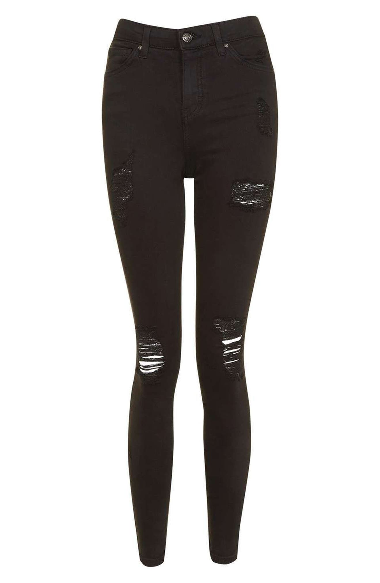 TOPSHOP, Ripped High Waist Ankle Skinny Jeans, Alternate thumbnail 6, color, 001