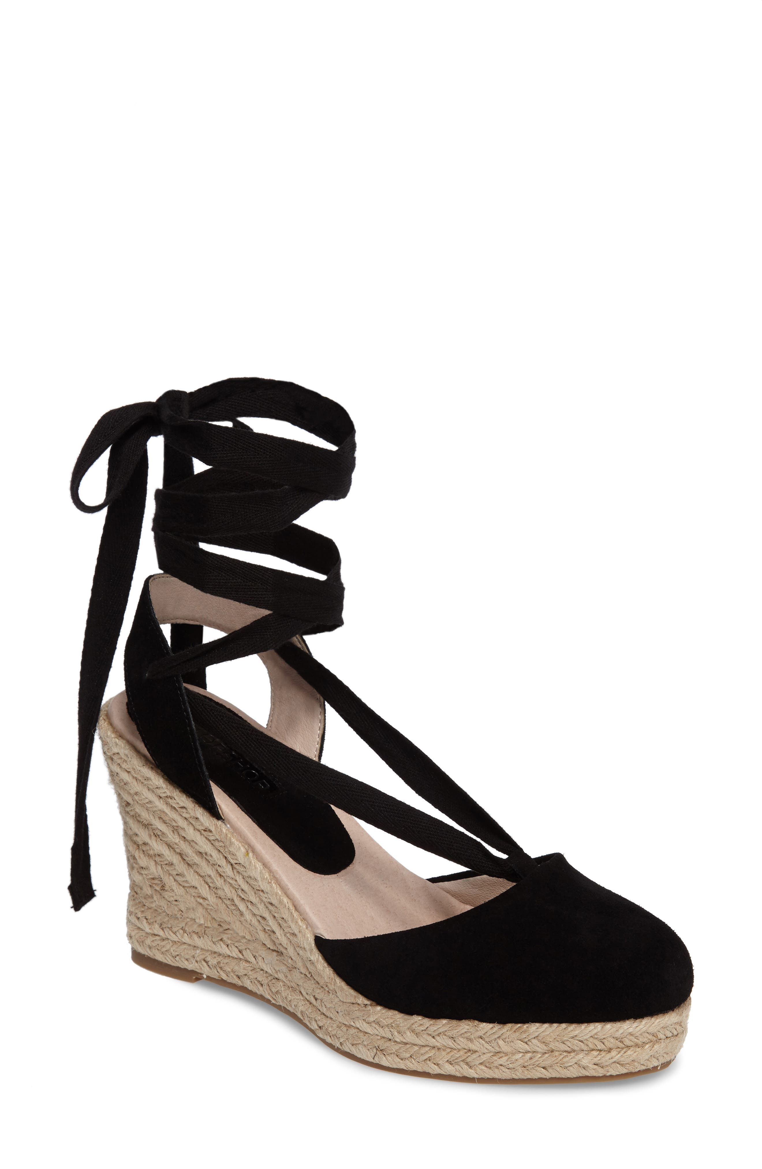 TOPSHOP, Waves Espadrille Wedge, Main thumbnail 1, color, 001