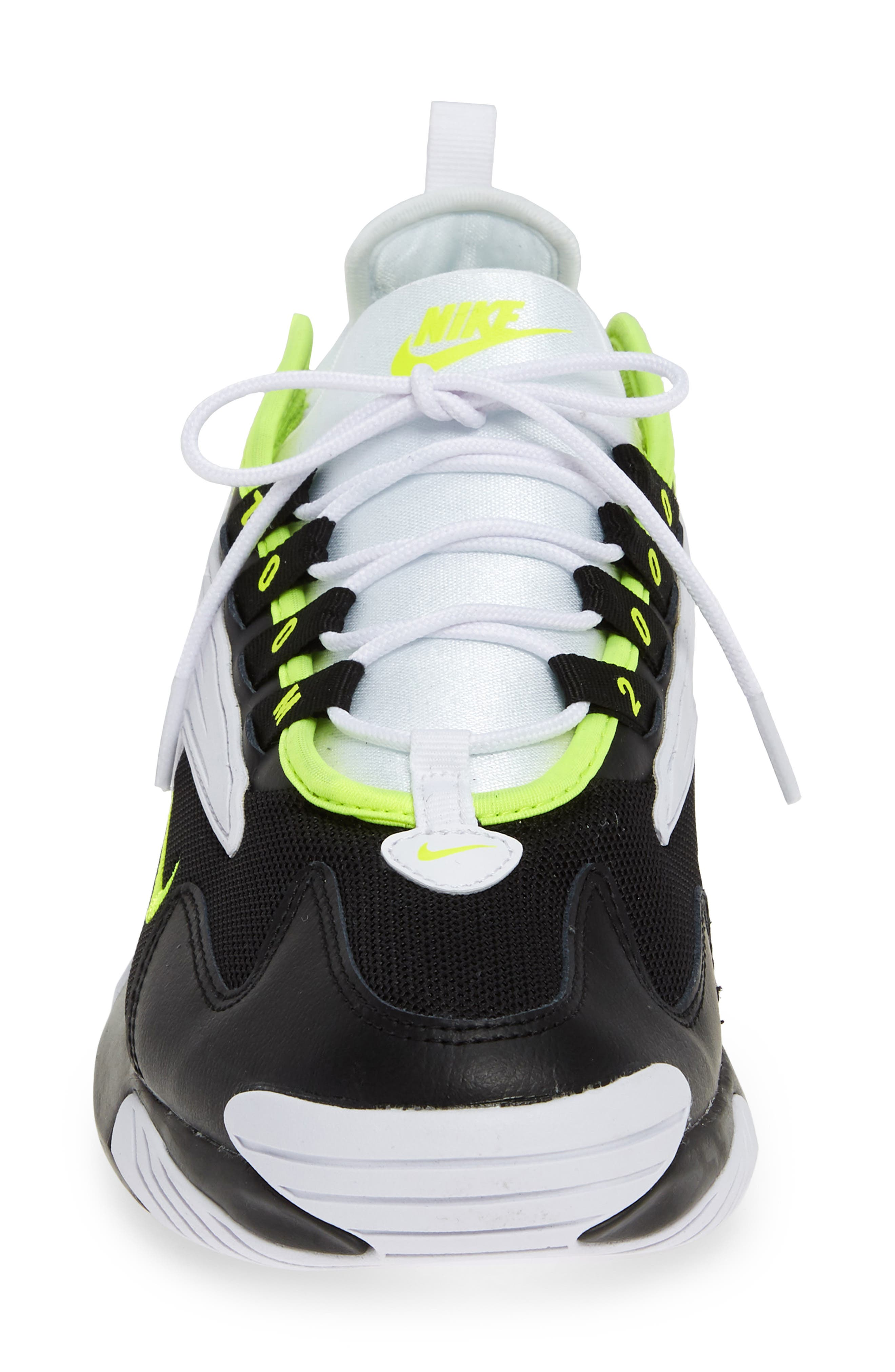 NIKE, Zoom 2K Sneaker, Alternate thumbnail 4, color, BLACK/ VOLT/ WHITE