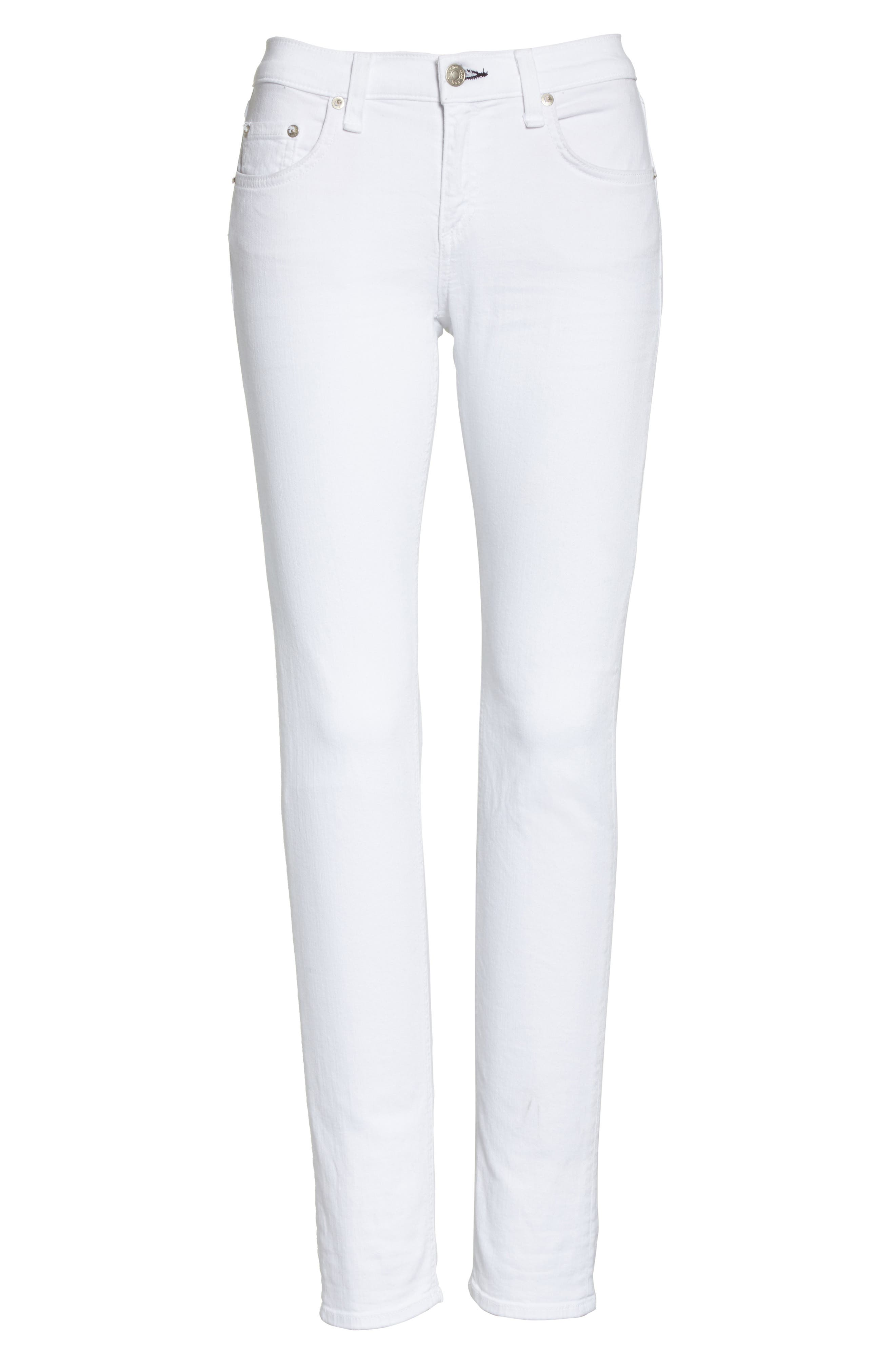 RAG & BONE, 'The Dre' Skinny Jeans, Alternate thumbnail 7, color, BRIGHT WHITE