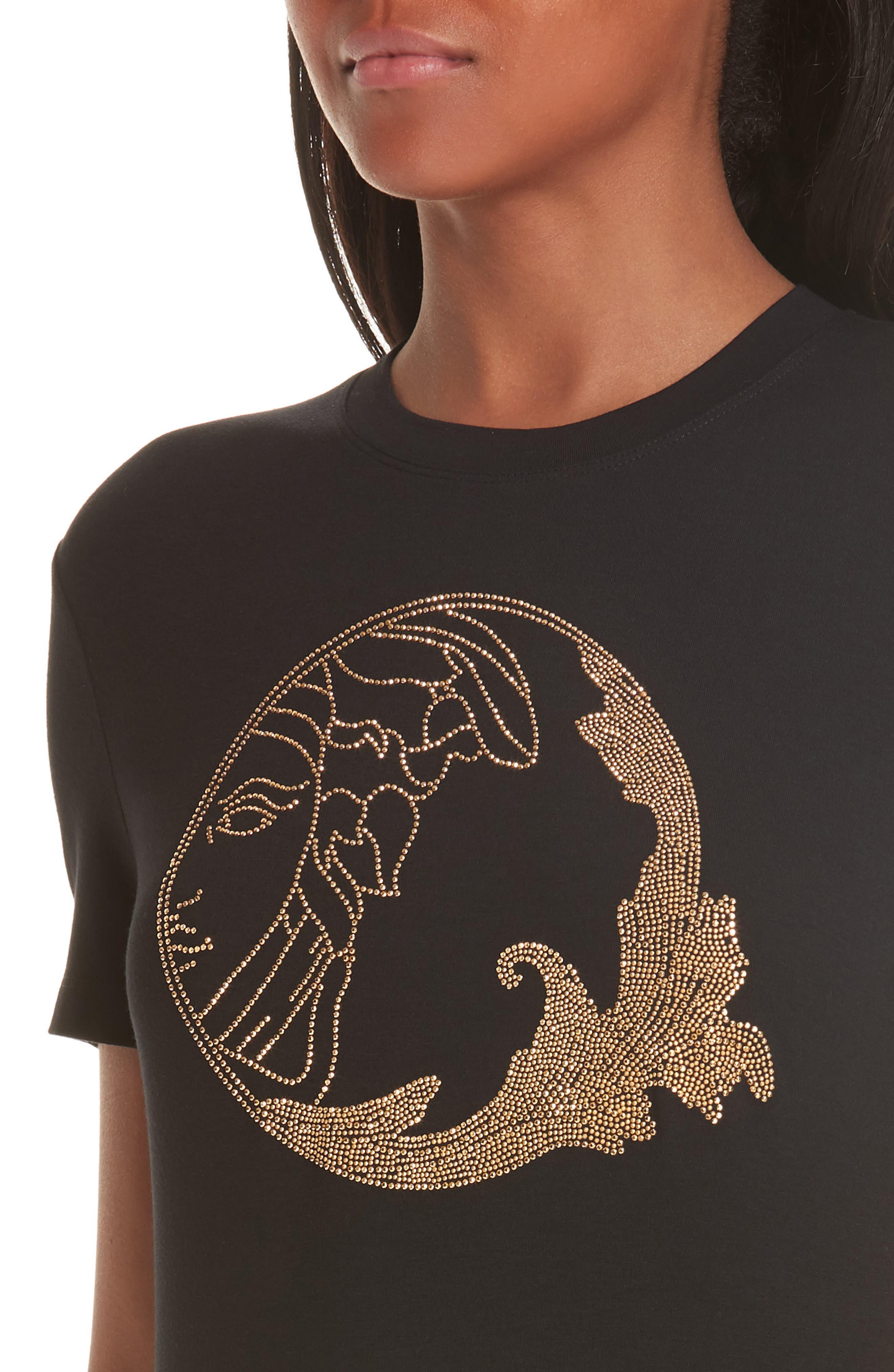 VERSACE COLLECTION, Medusa Crystal Embellished Jersey Tee, Alternate thumbnail 4, color, BLACK