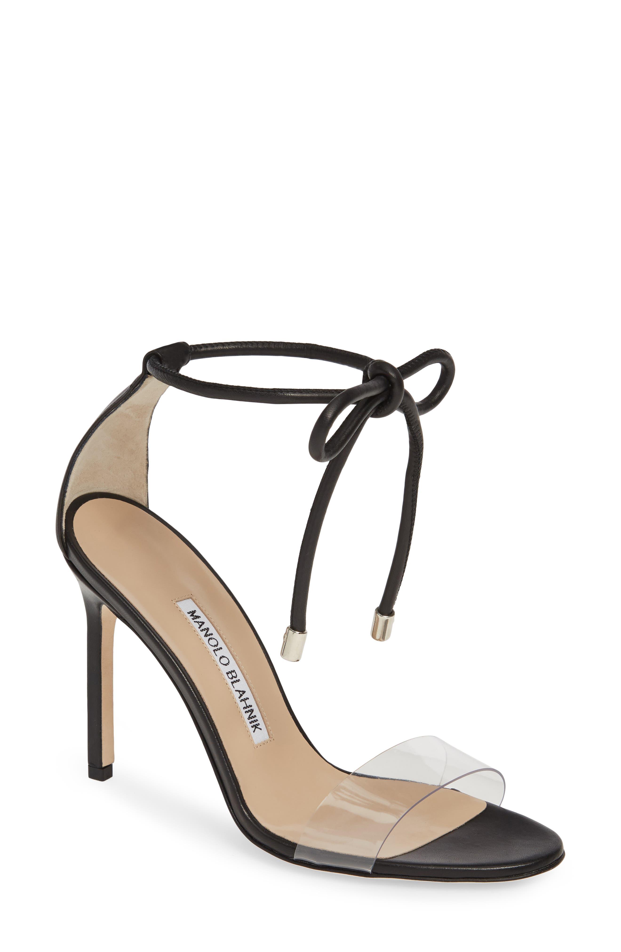 MANOLO BLAHNIK, Estro Ankle Tie Sandal, Main thumbnail 1, color, BLACK LEATHER
