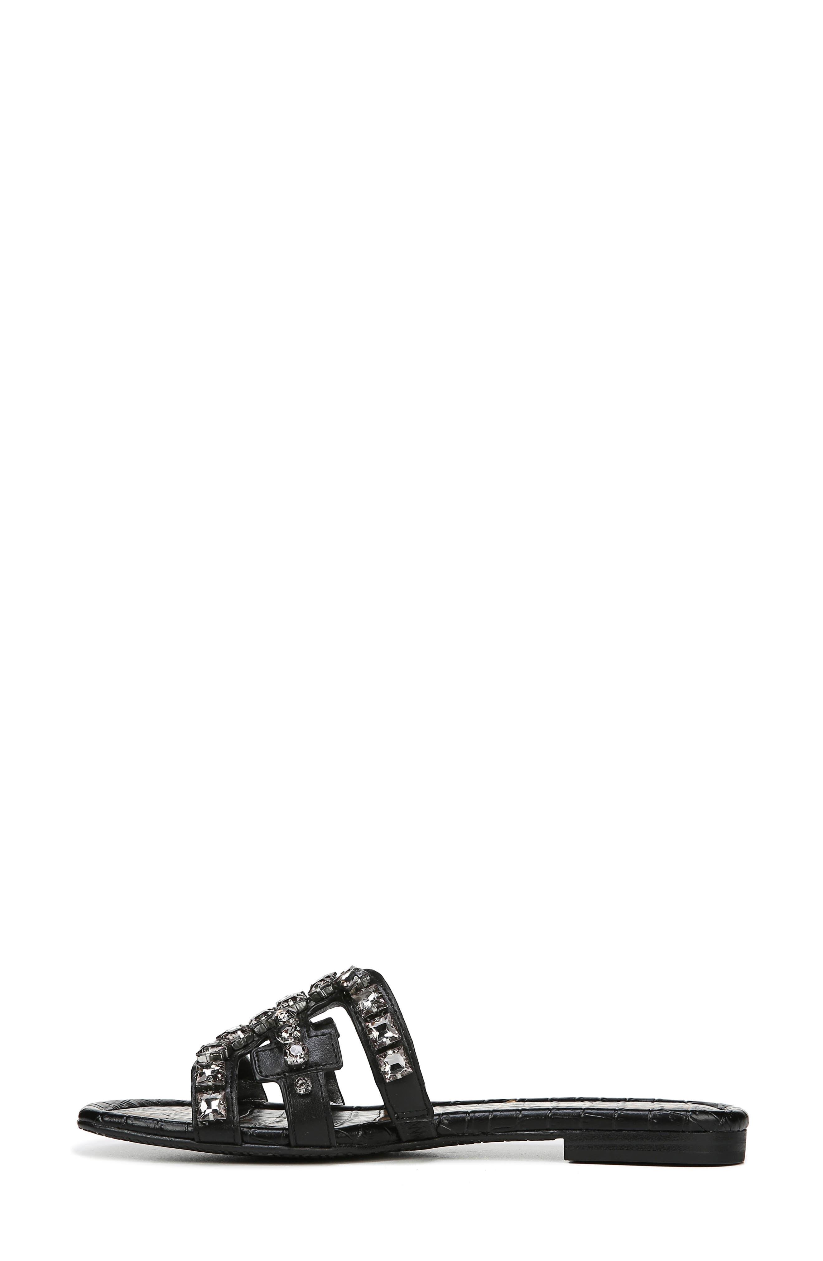 SAM EDELMAN, Bay 2 Embellished Slide Sandal, Alternate thumbnail 9, color, BLACK NAPPA LEATHER