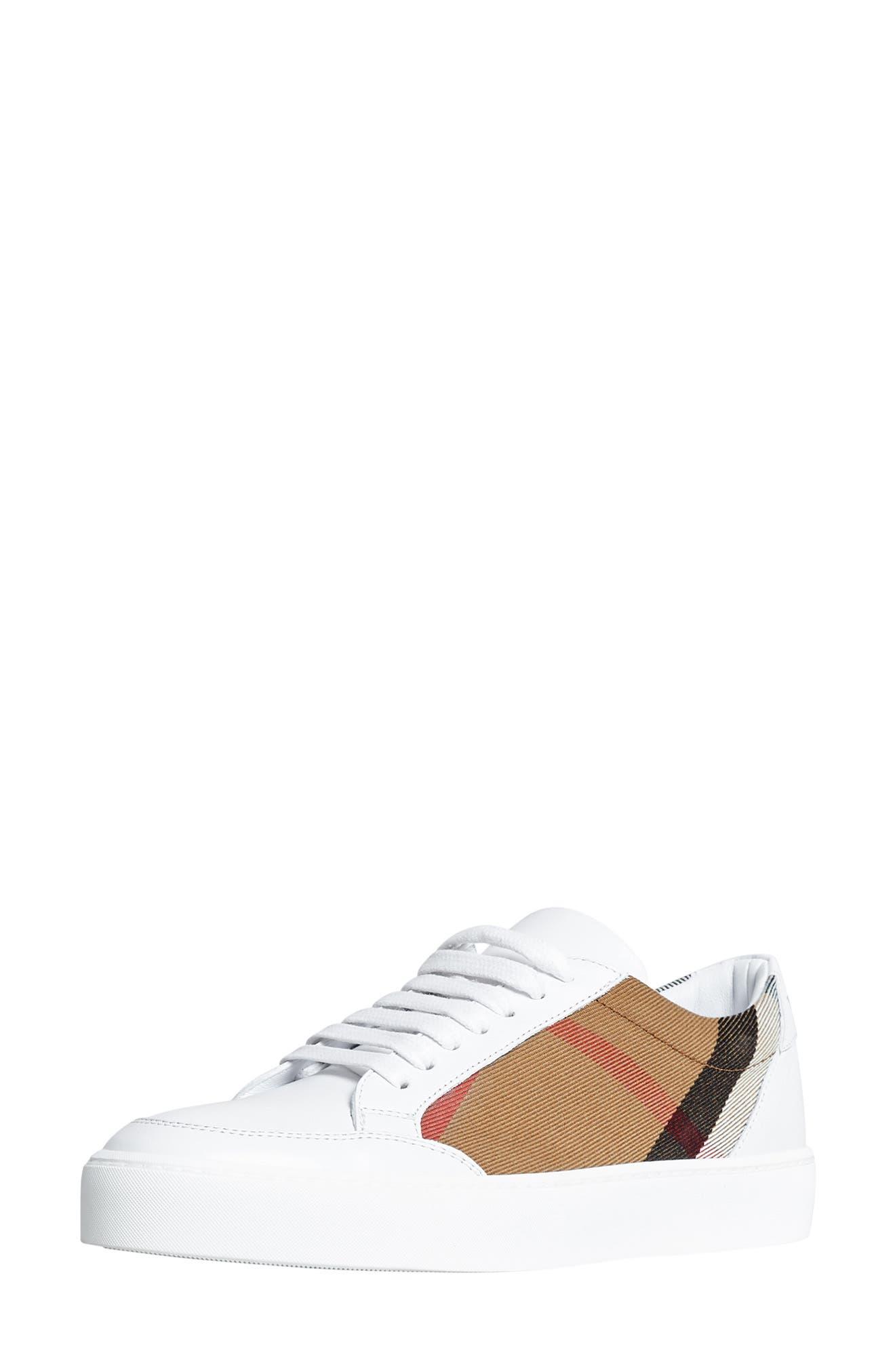 BURBERRY, Salmond Sneaker, Alternate thumbnail 8, color, WHITE