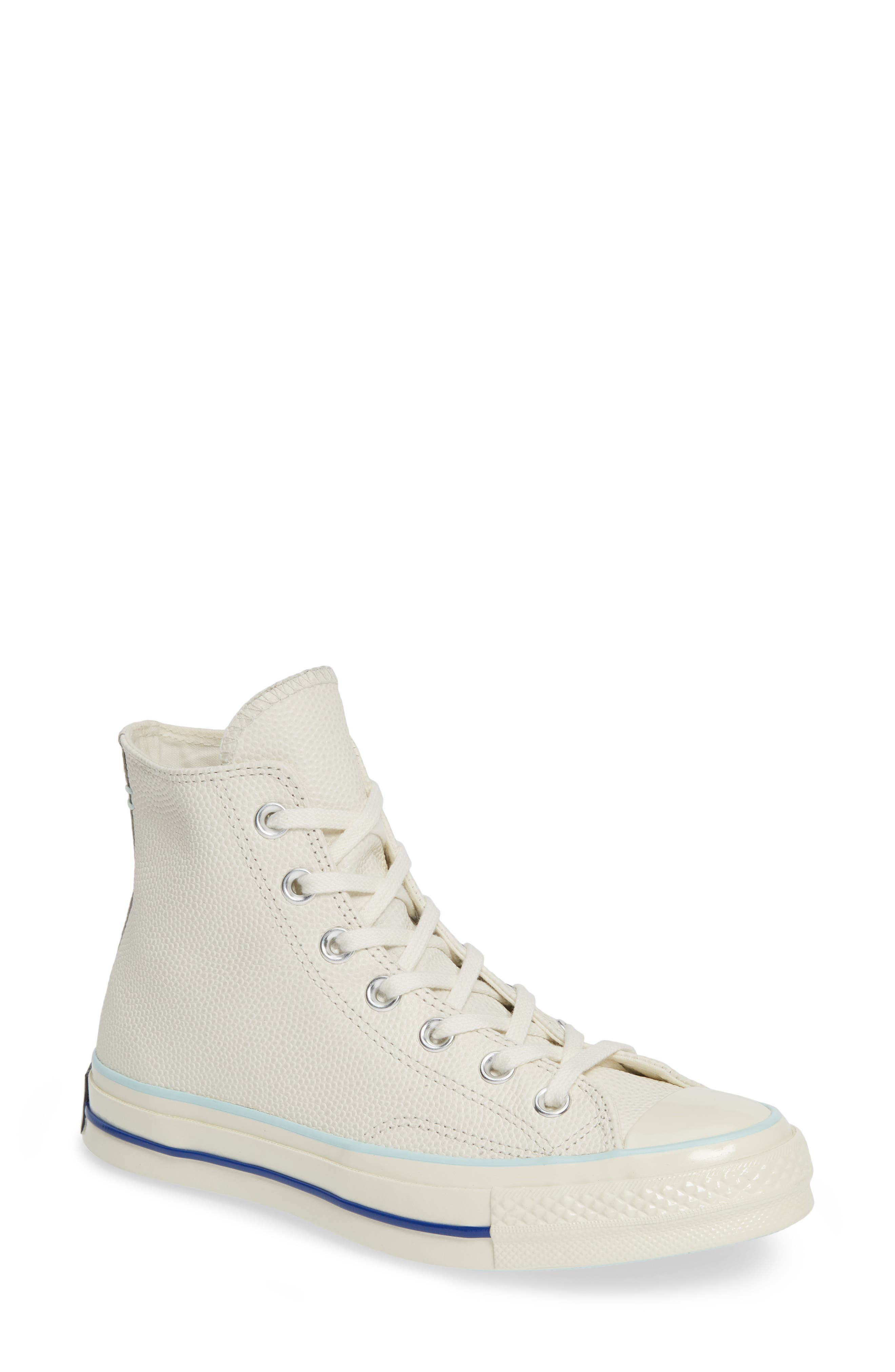 CONVERSE, Chuck Taylor<sup>®</sup> All Star<sup>®</sup> 70 High Top Leather Sneaker, Main thumbnail 1, color, EGRET/ TEAL TINT/ EGRET